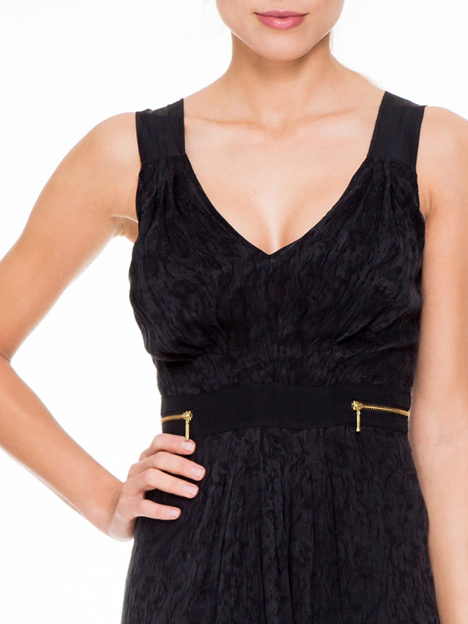 Czarna wzorzysta sukienka z suwakami                                  zdj.                                  6