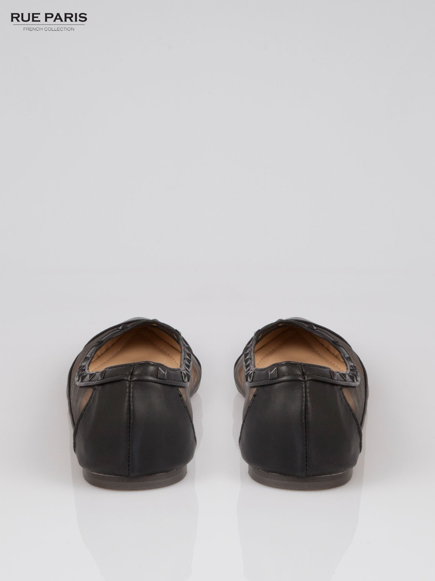 Czarne baleriny Crystal leather z siateczką i ćwiekami                                  zdj.                                  3