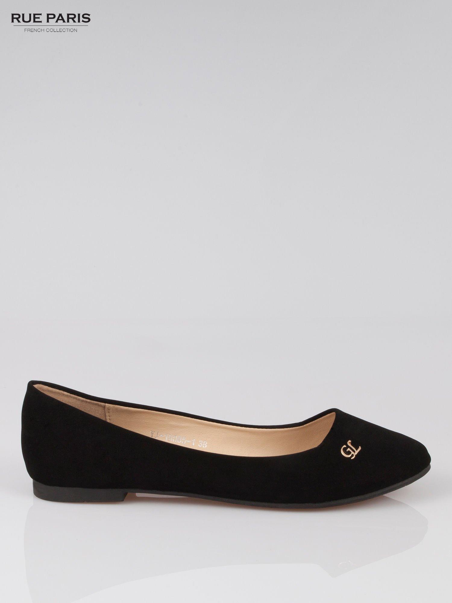 Czarne baleriny faux leather Honey ze złotym logo                                  zdj.                                  1