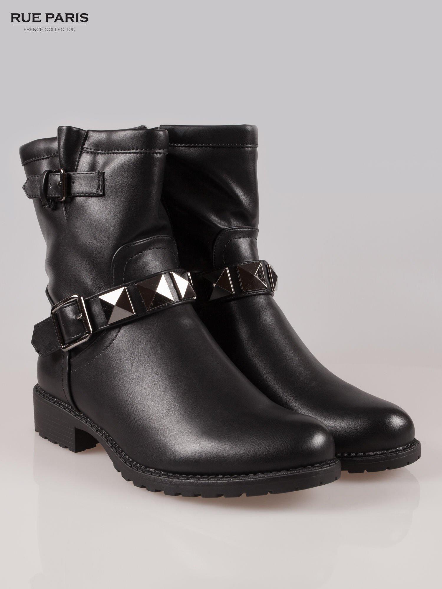 Czarne botki biker boots z klamerkami                                  zdj.                                  2