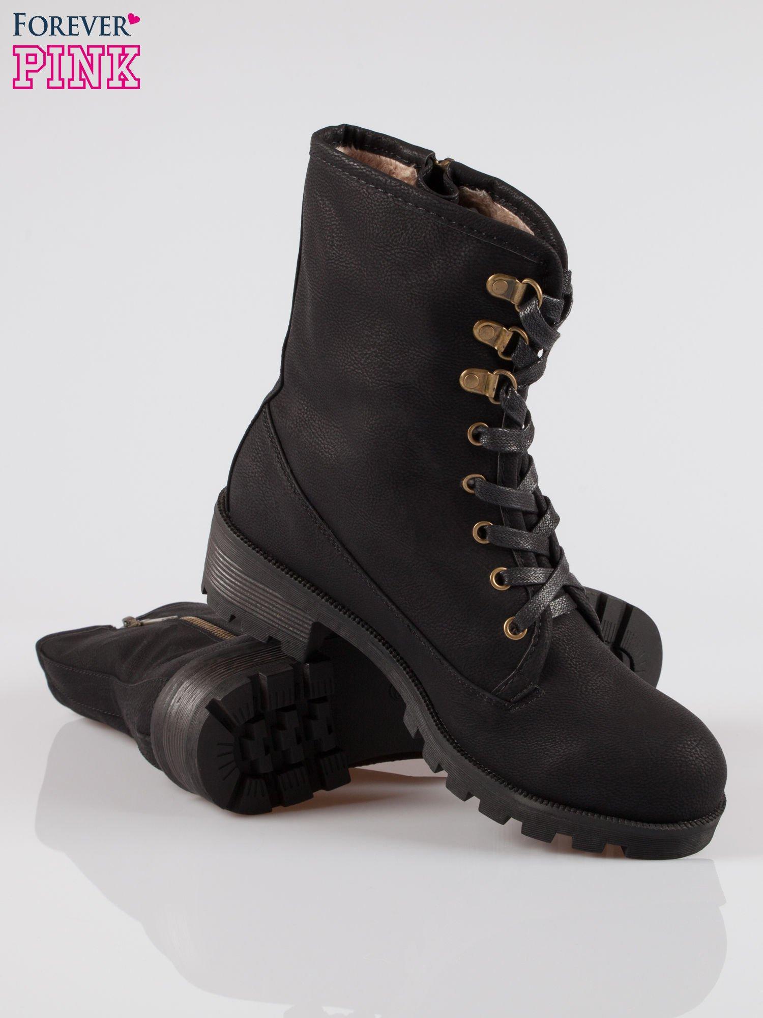 Czarne botki worker boots z zamkiem z boku                                  zdj.                                  4