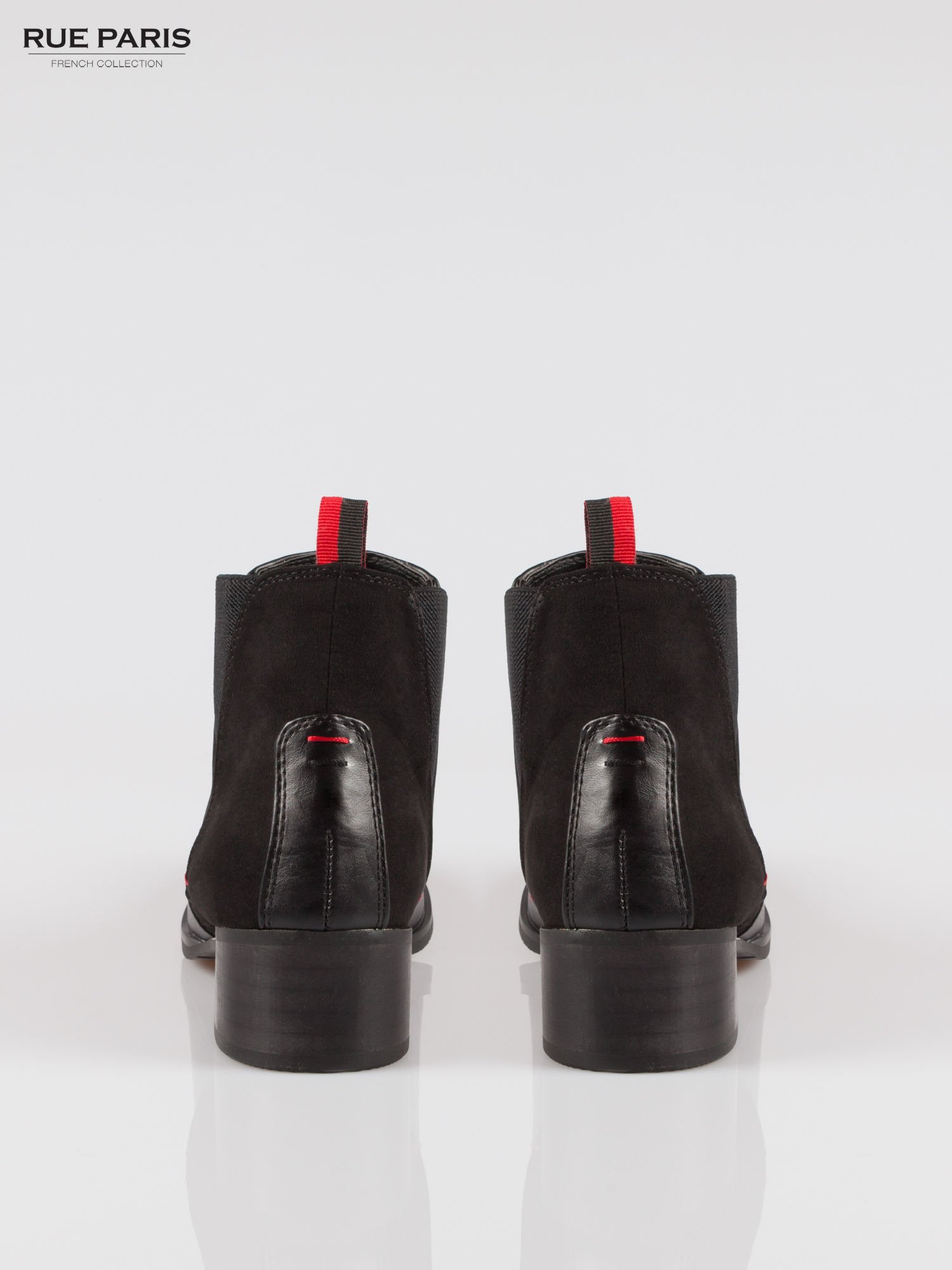 Czarne botki z trójkątną gumą po bokach cholewki                                  zdj.                                  3