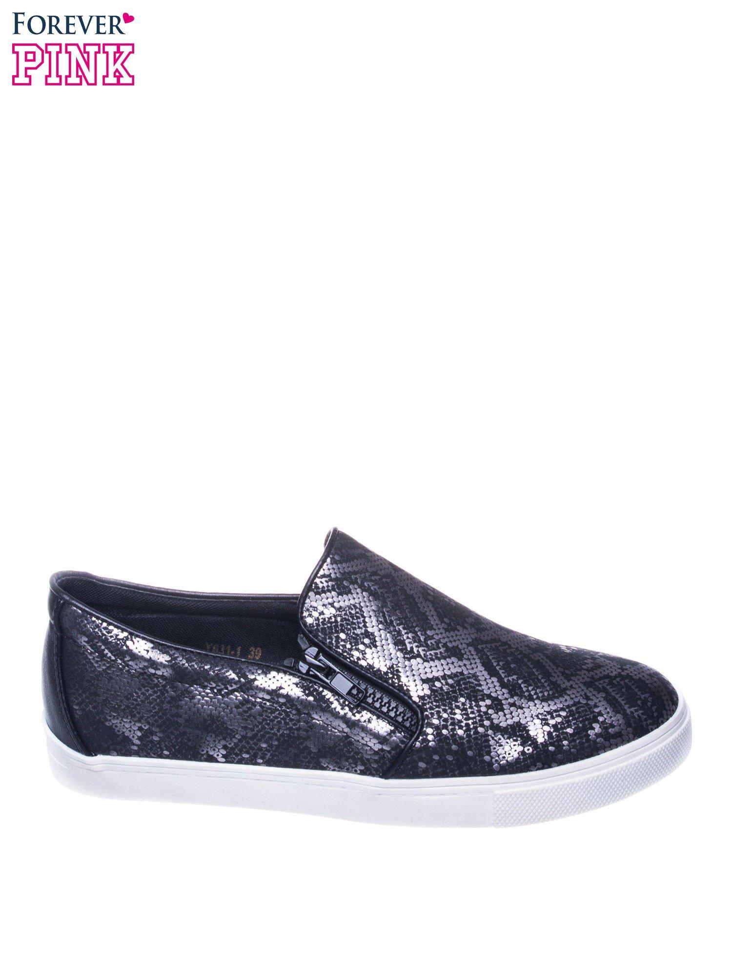 Czarne buty slip on Katie ze skóry węża                                  zdj.                                  1