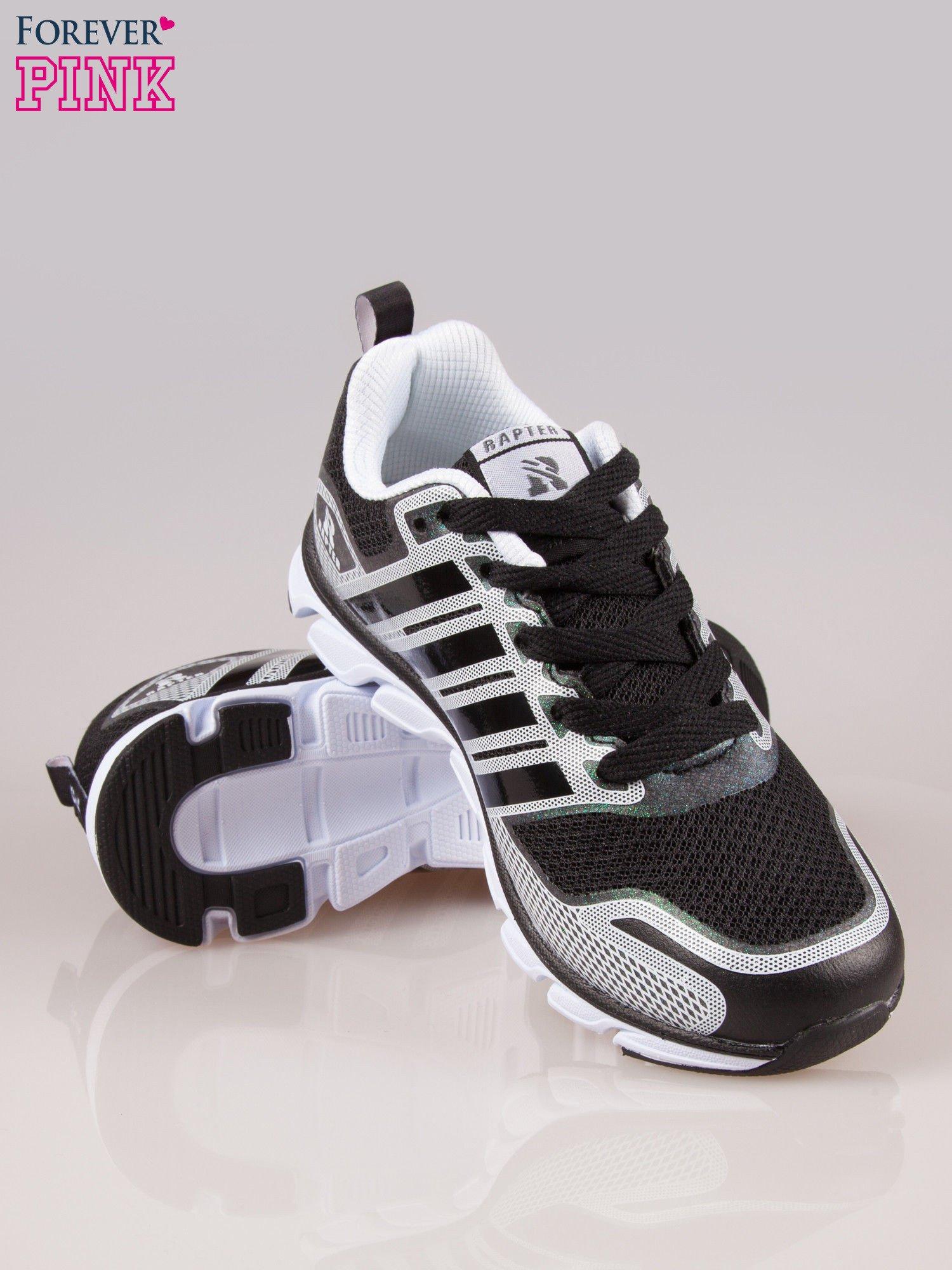 Czarne buty sportowe damskie z elastyczną podeszwą                                  zdj.                                  4