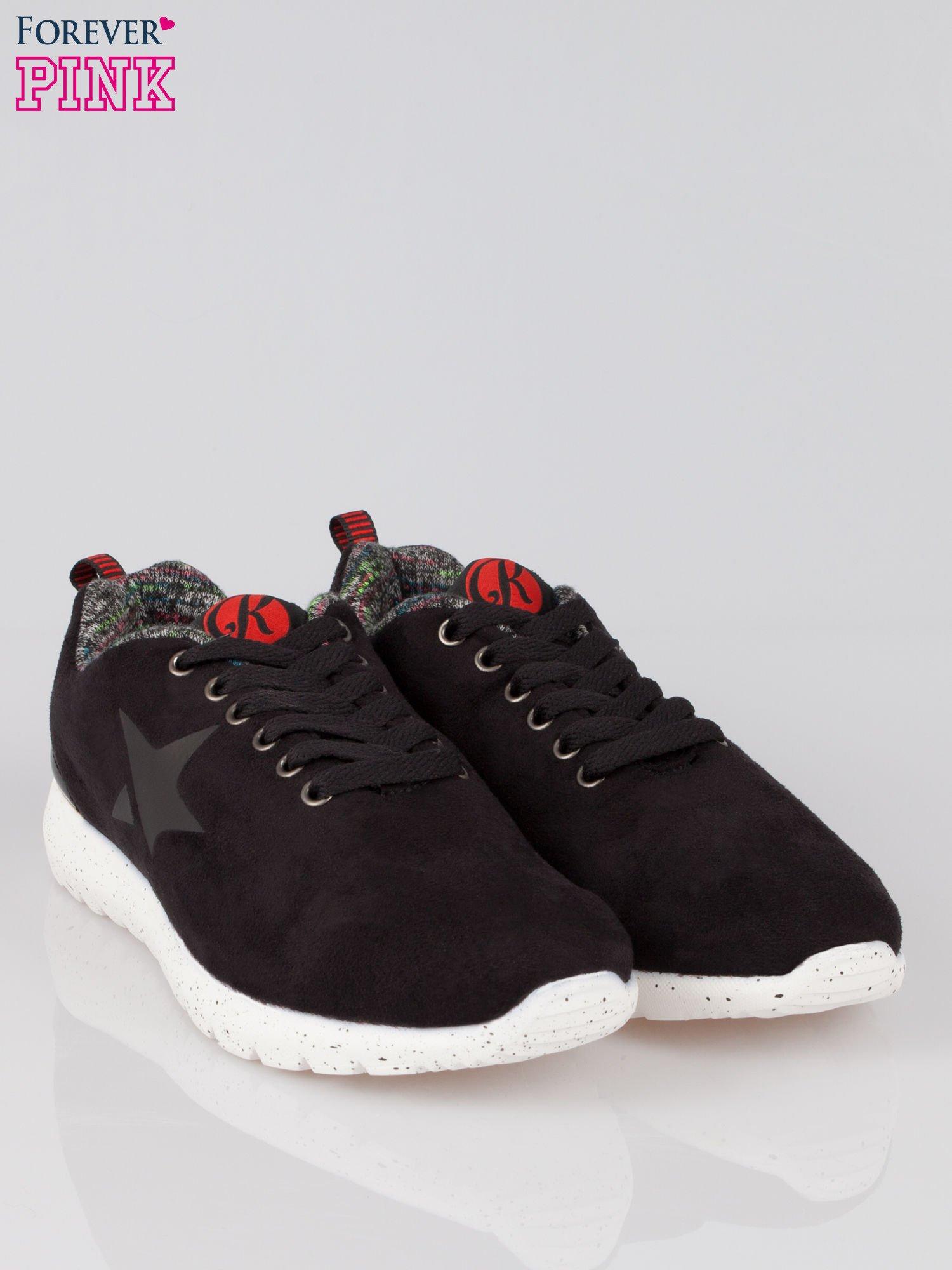 Czarne buty sportowe faux suede Hollywood z zamszu                                  zdj.                                  2