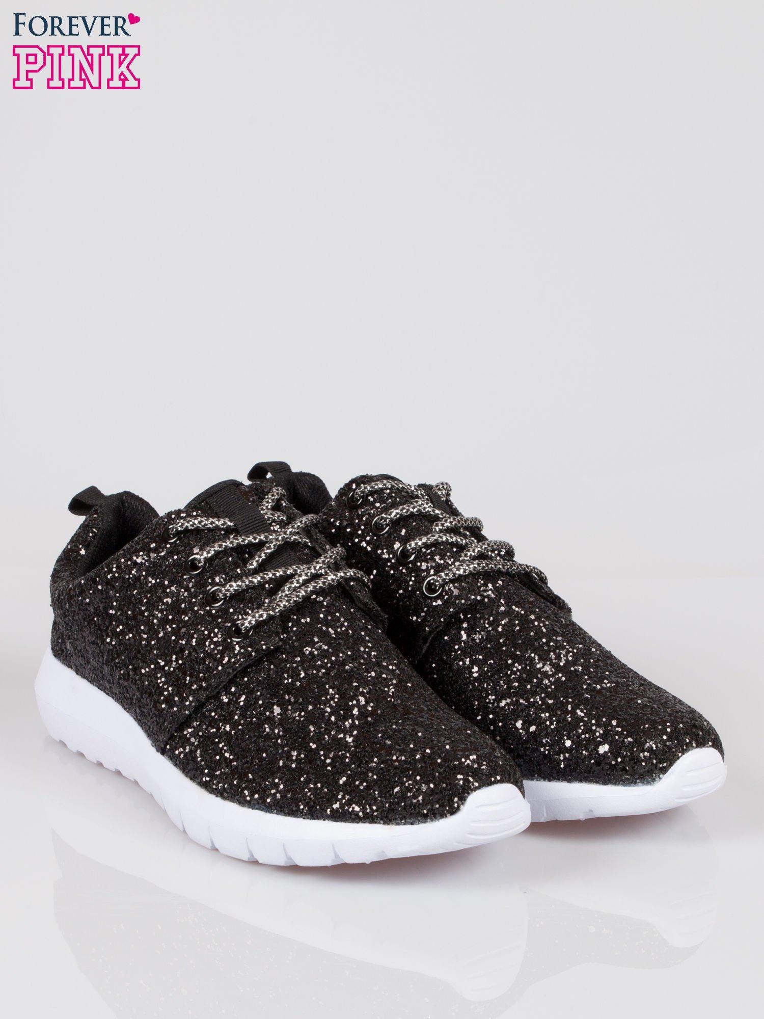Czarne buty sportowe textile Crummy z brokatowym efektem                                  zdj.                                  2