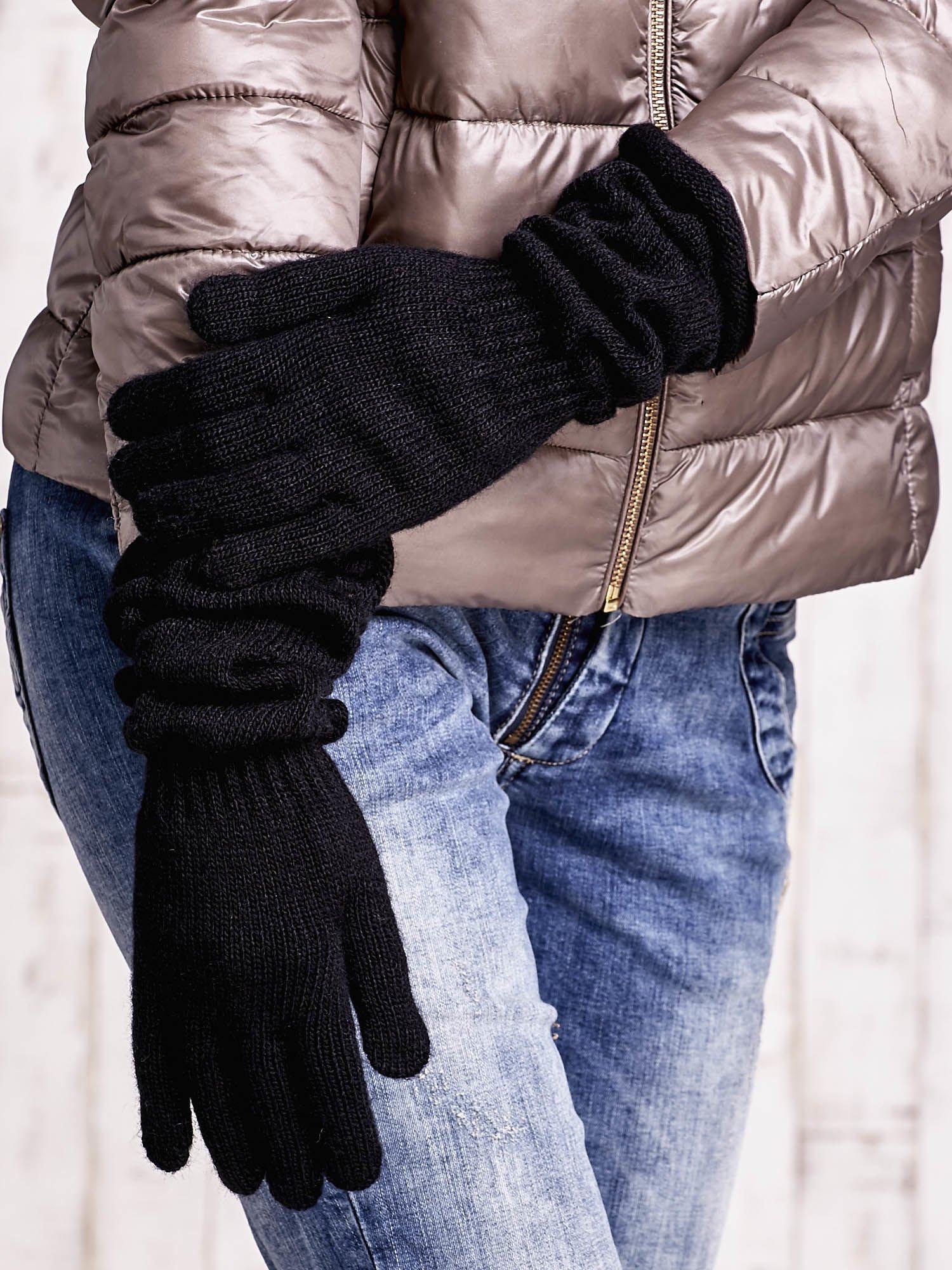 Czarne długie rękawiczki z marszczonym ściągaczem                                   zdj.                                  3