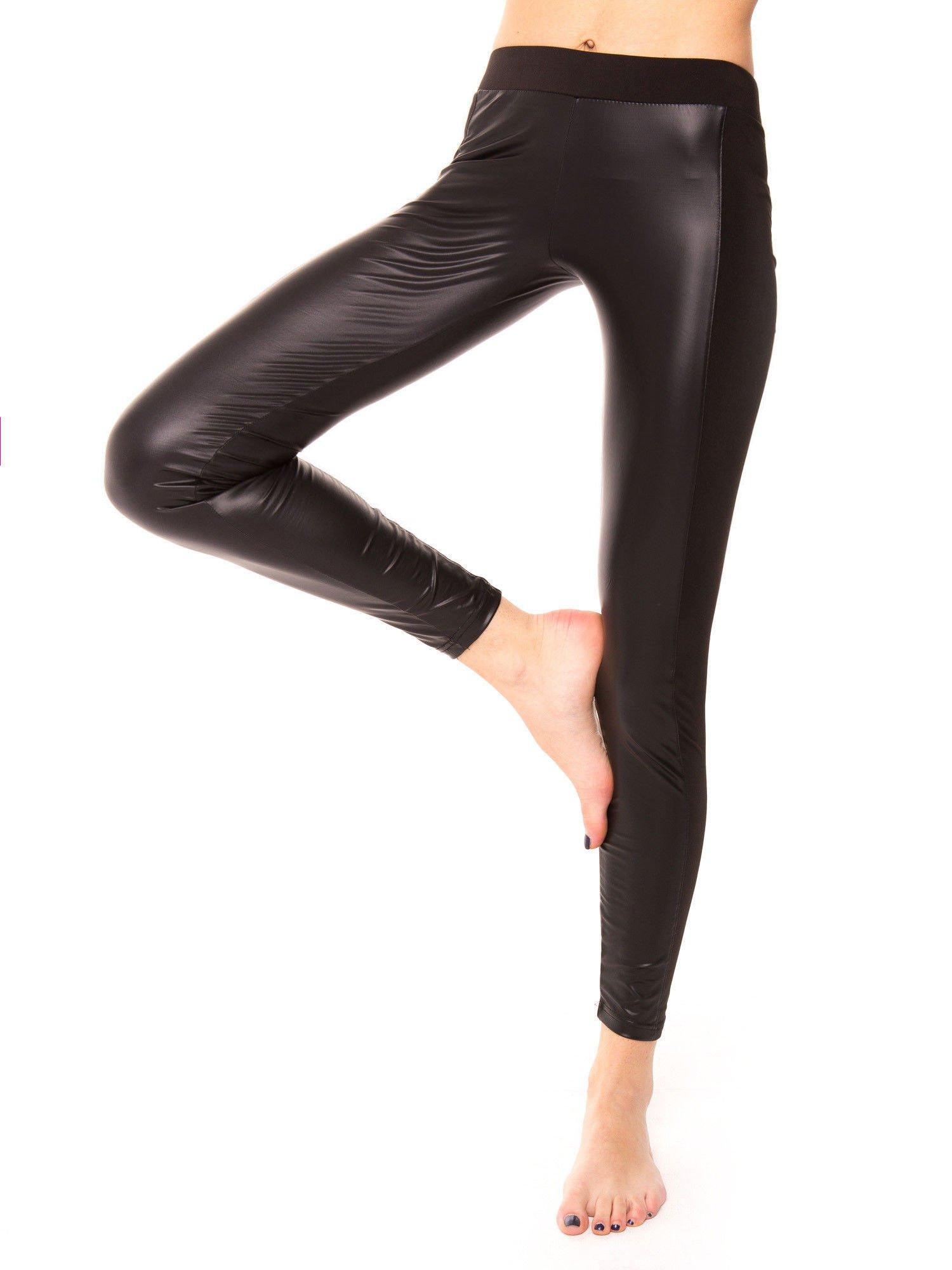 Czarne dwustronne legginsy skórzane                                  zdj.                                  7