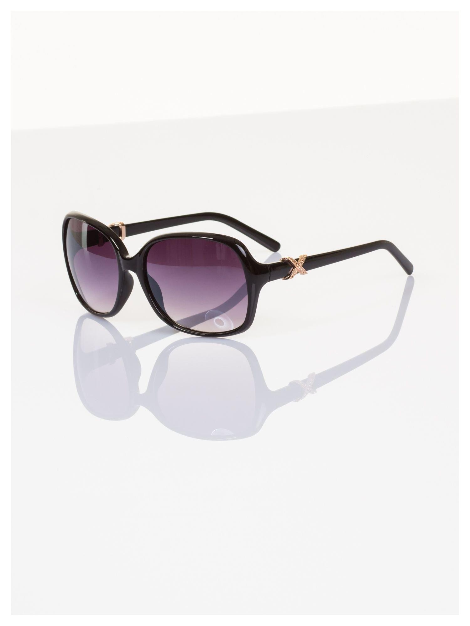 Czarne ekskluzywne duże okulary typu MUCHY ze złotym zdobieniem                                   zdj.                                  1