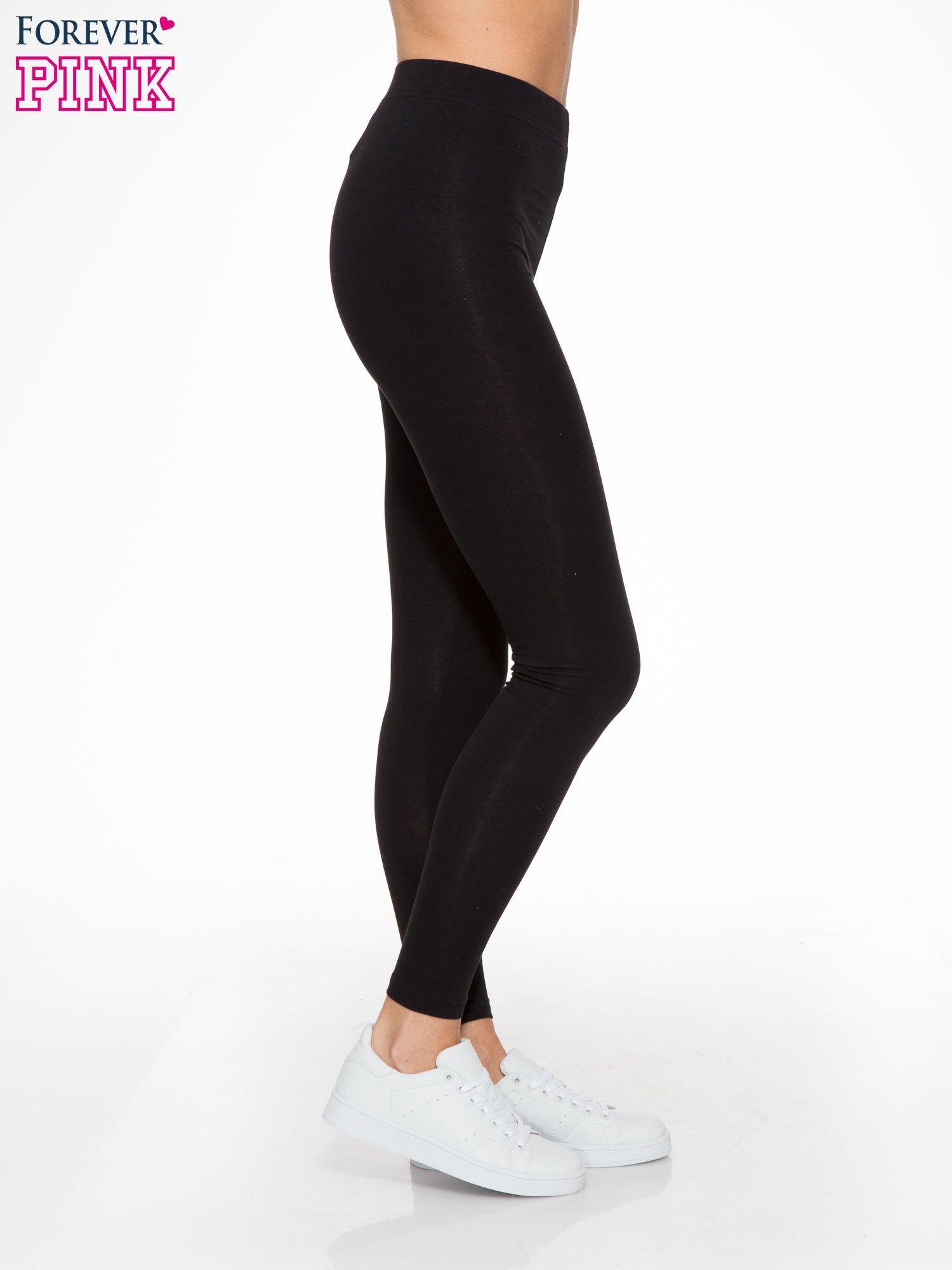Czarne elastyczne legginsy damskie z bawełny                                  zdj.                                  3