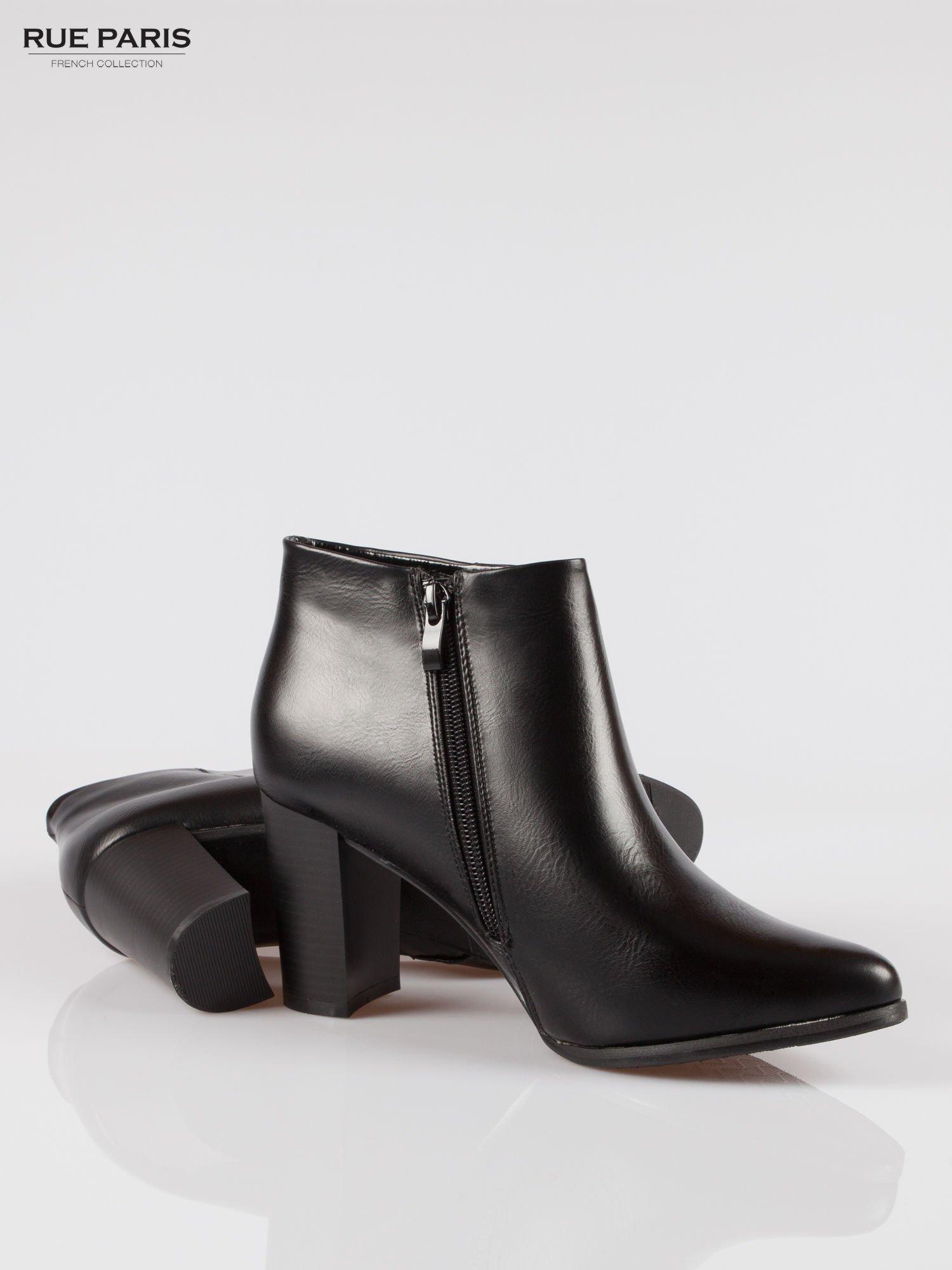 Czarne eleganckie botki na słupkowym obcasie                                  zdj.                                  4