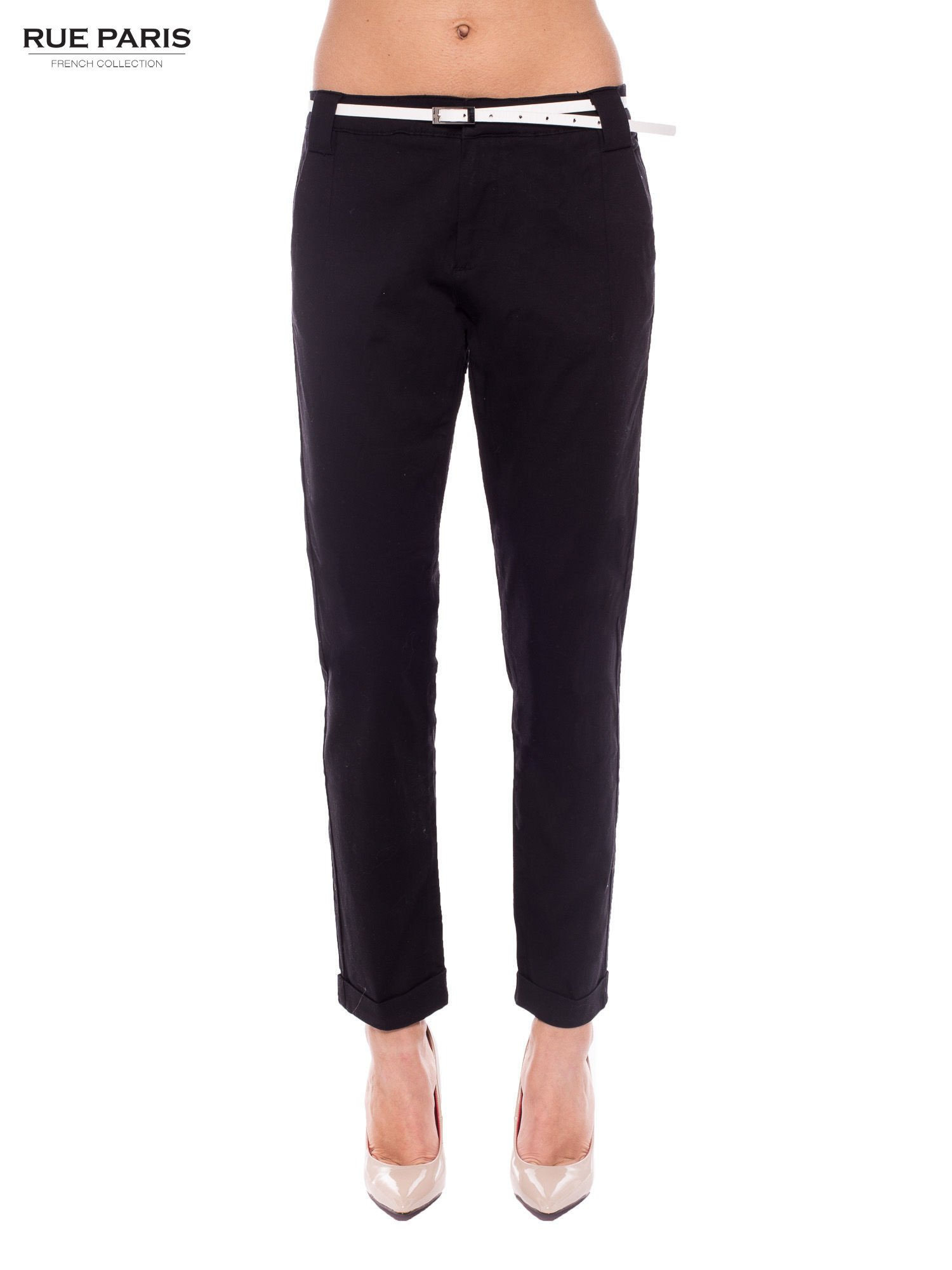 Czarne eleganckie spodnie damskie z paskiem                                  zdj.                                  1