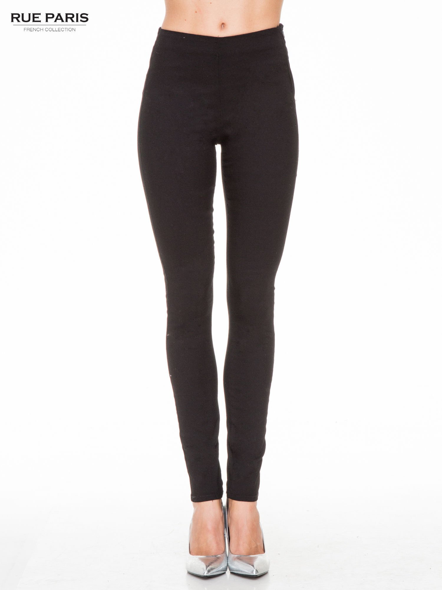 Czarne eleganckie spodnie typu tregginsy z wysoką talią                                  zdj.                                  1