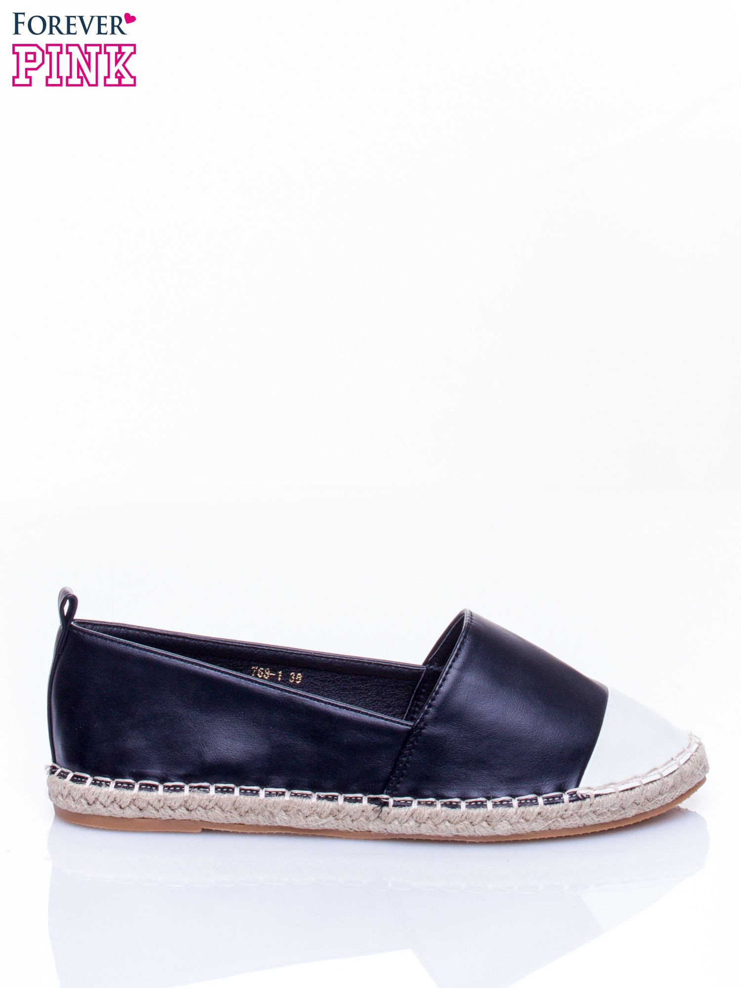 Czarne espadryle faux leather Madeleine two tone