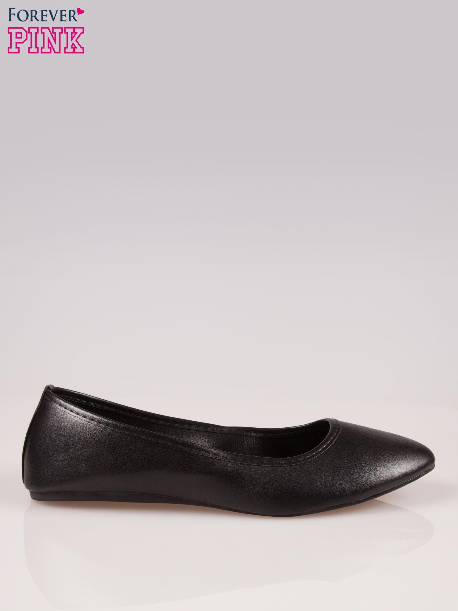 Czarne gładkie balerinki eco leather ze skóry ekologicznej                                  zdj.                                  1