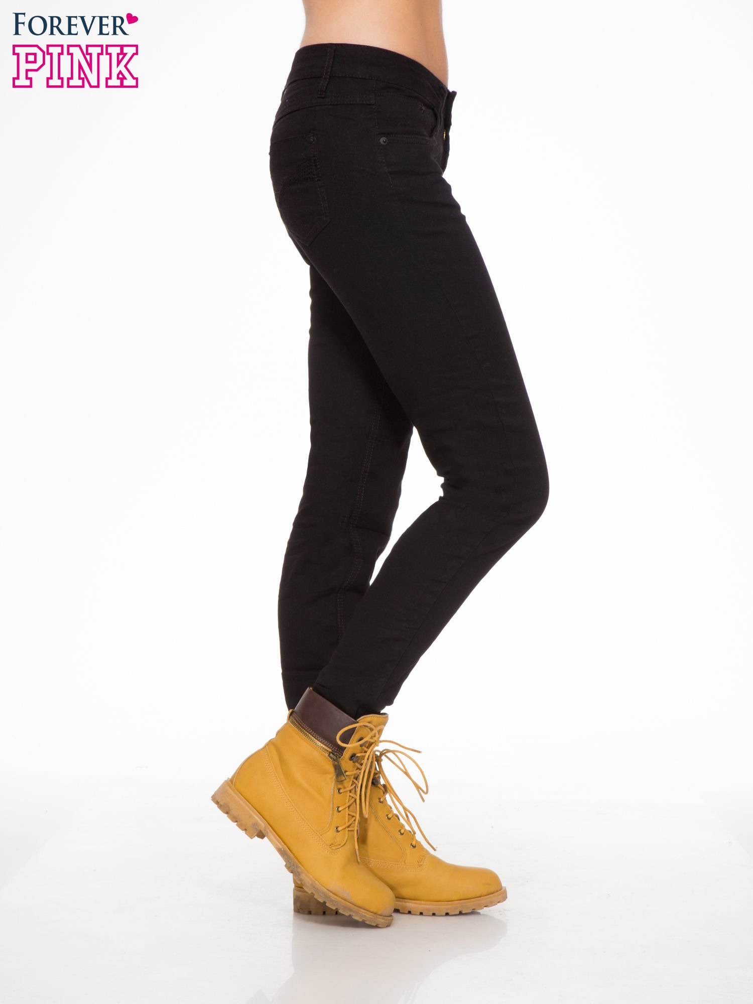Czarne klasyczne spodnie jeansowe rurki                                  zdj.                                  3