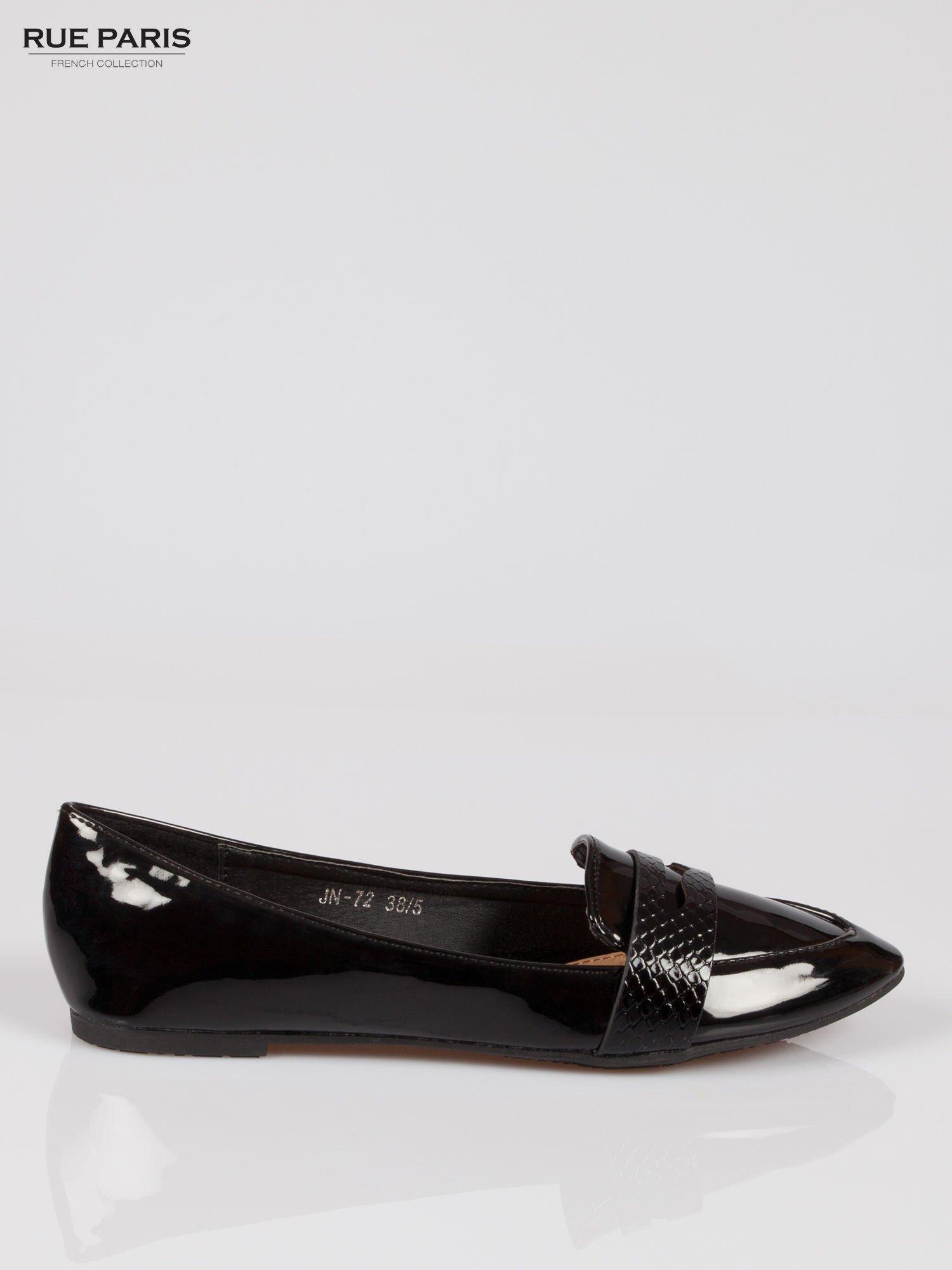 Czarne lakierowane mokasyny penny loafers Harper                                  zdj.                                  1
