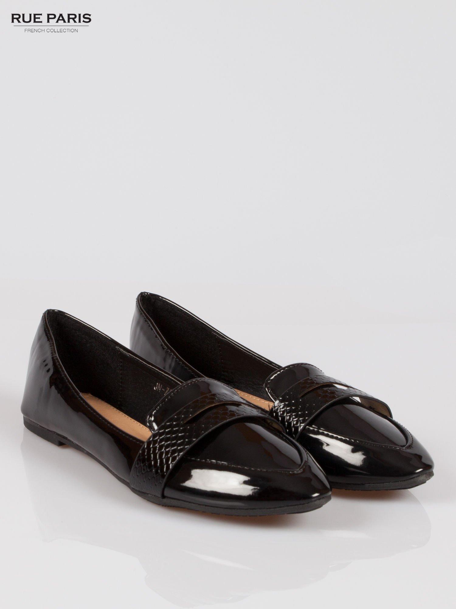 Czarne lakierowane mokasyny penny loafers Harper                                  zdj.                                  2