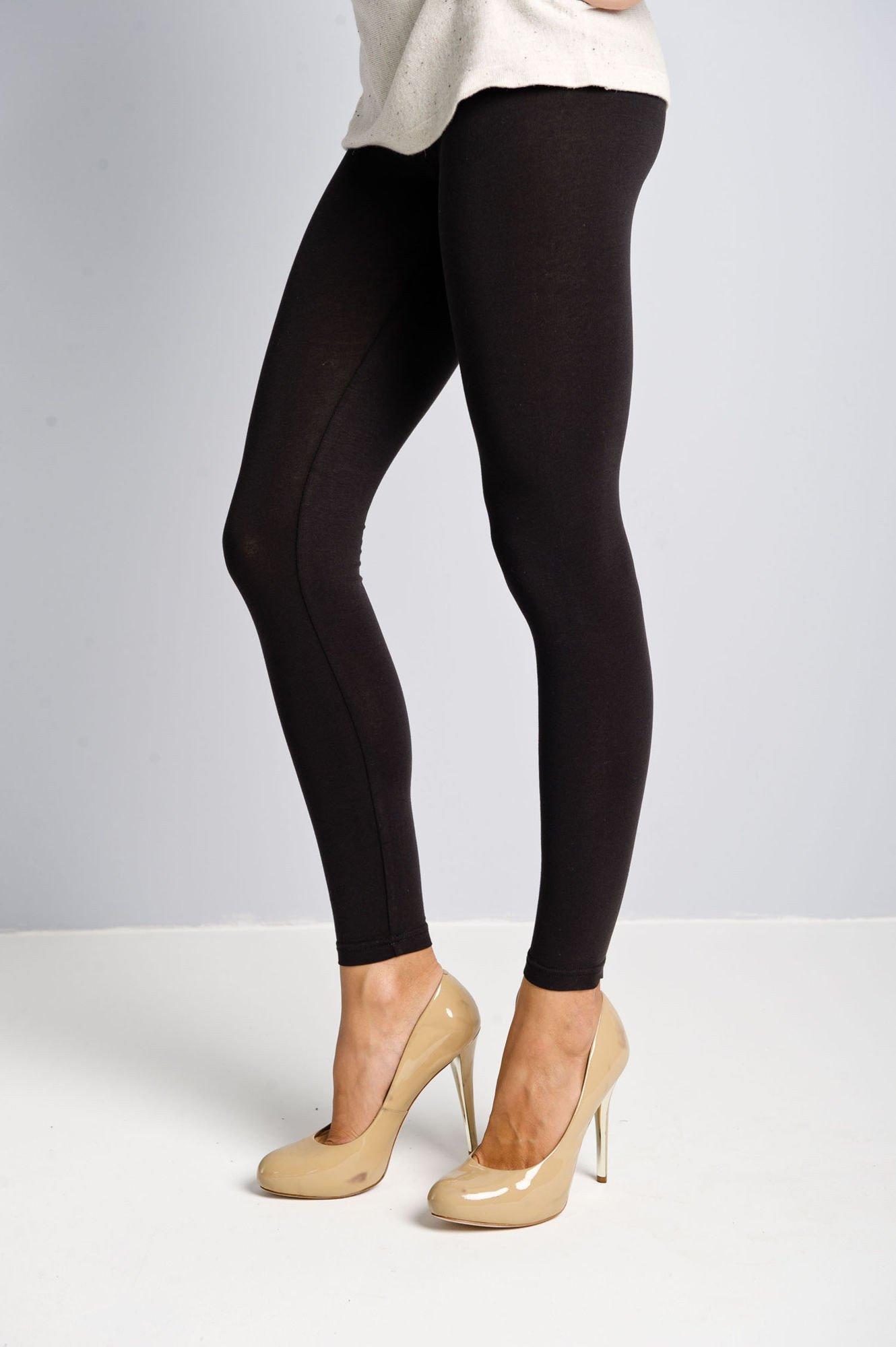 Czarne legginsy bawełniane z gumką w pasie                                  zdj.                                  2