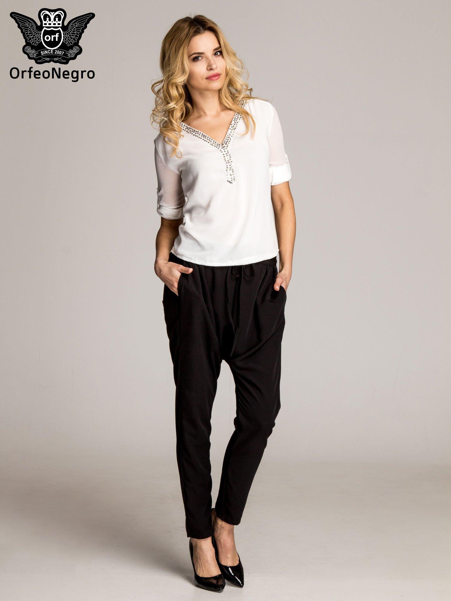 Czarne materiałowe spodnie baggy                                  zdj.                                  7