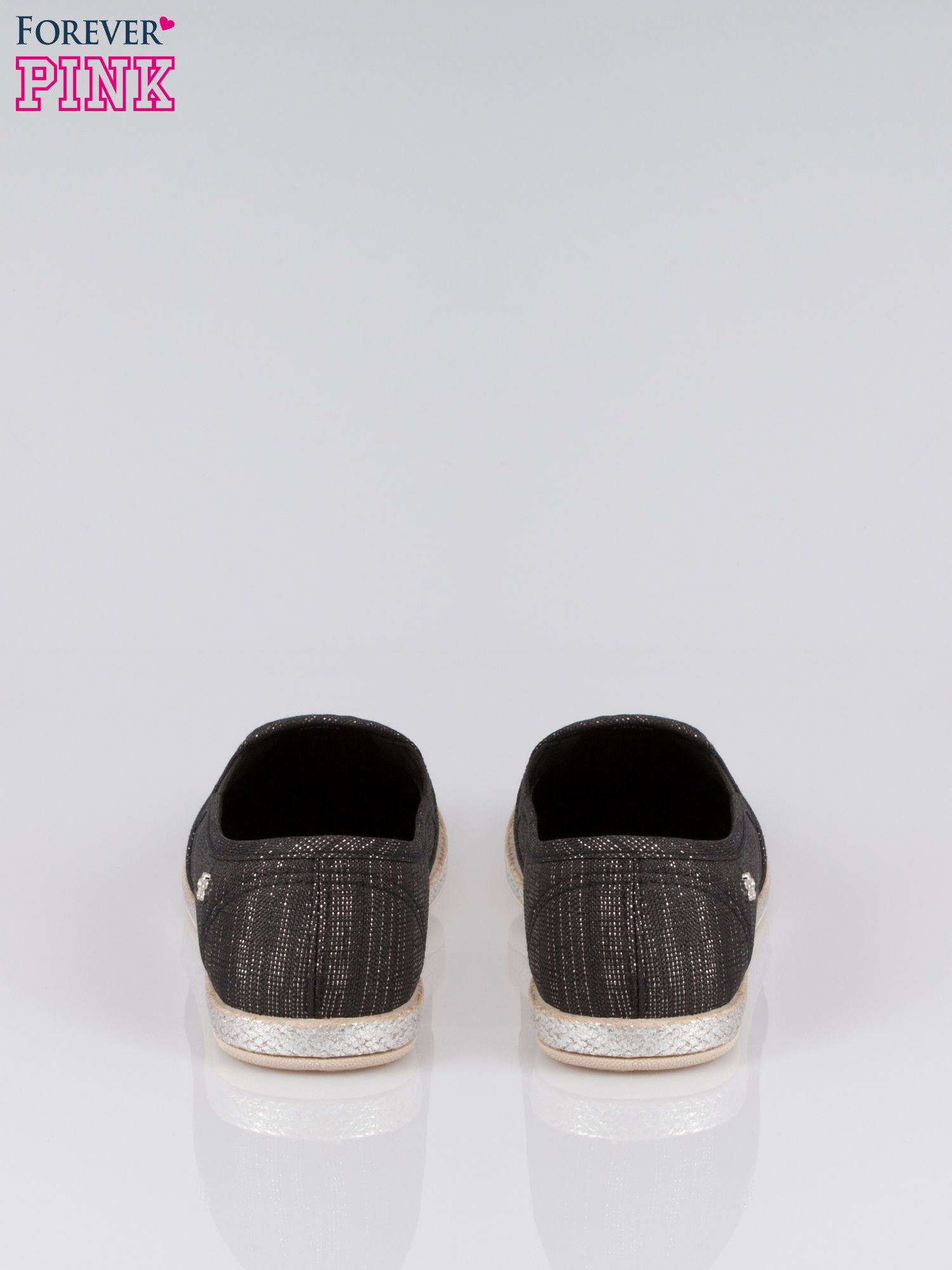 Czarne melanżowe buty slip-on                                  zdj.                                  3
