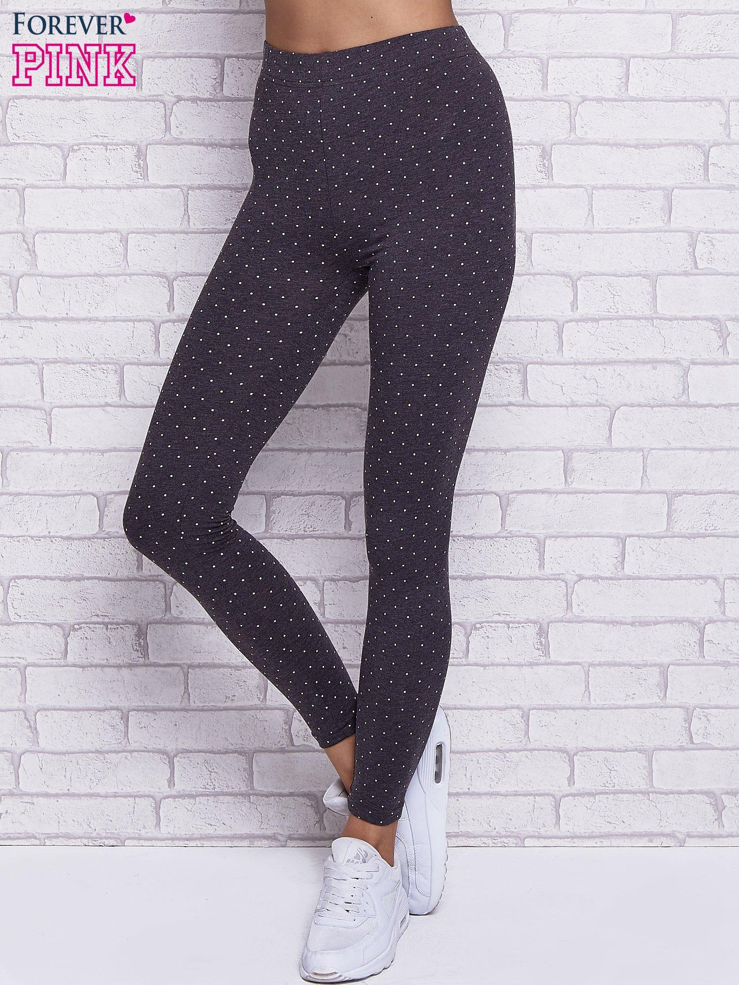 Czarne melanżowe legginsy w kropki                                  zdj.                                  1