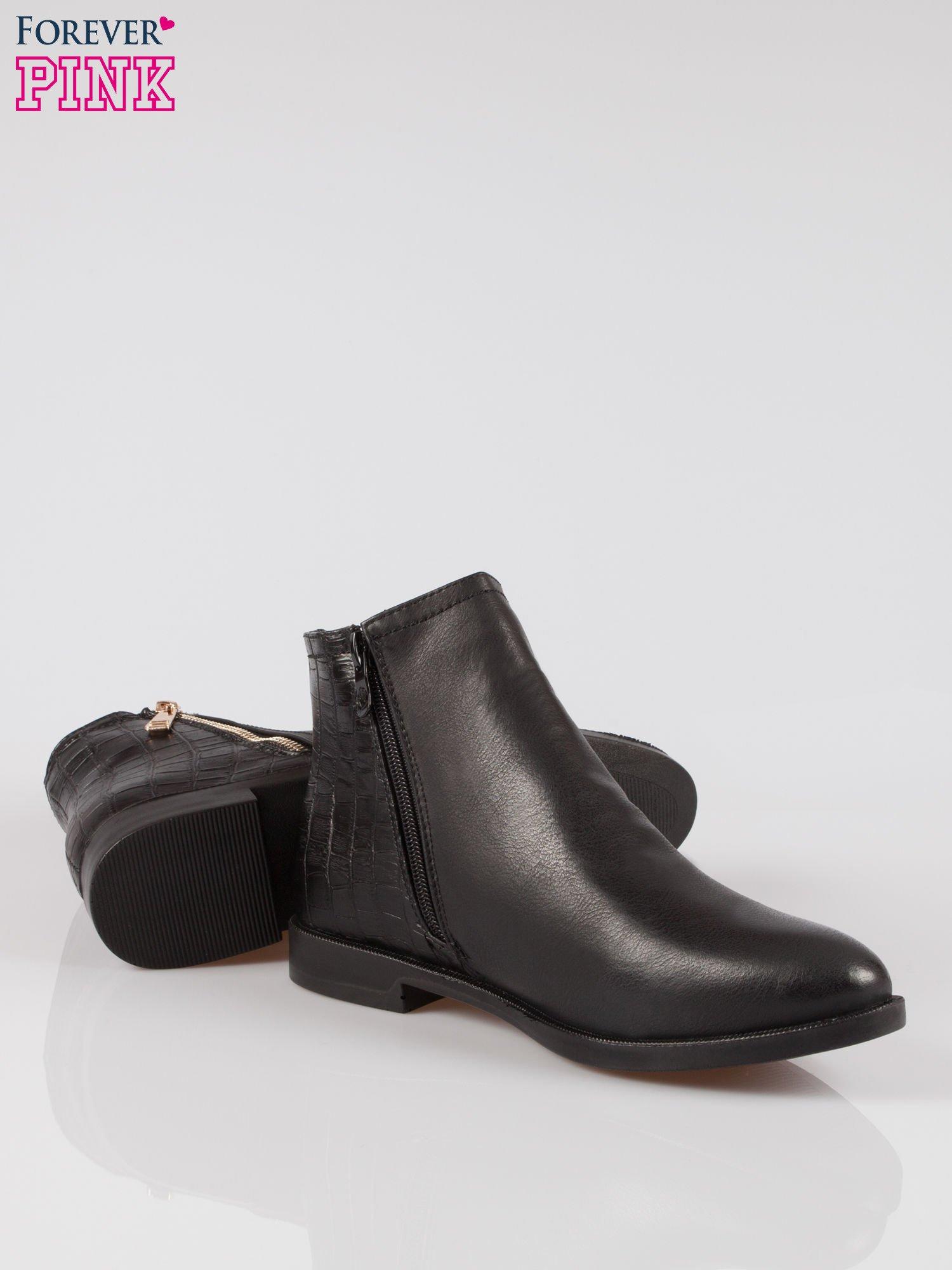 964e8797f0df9 3 · Czarne płaskie botki ze złotym suwakiem i tyłem ze skóry krokodyla ...