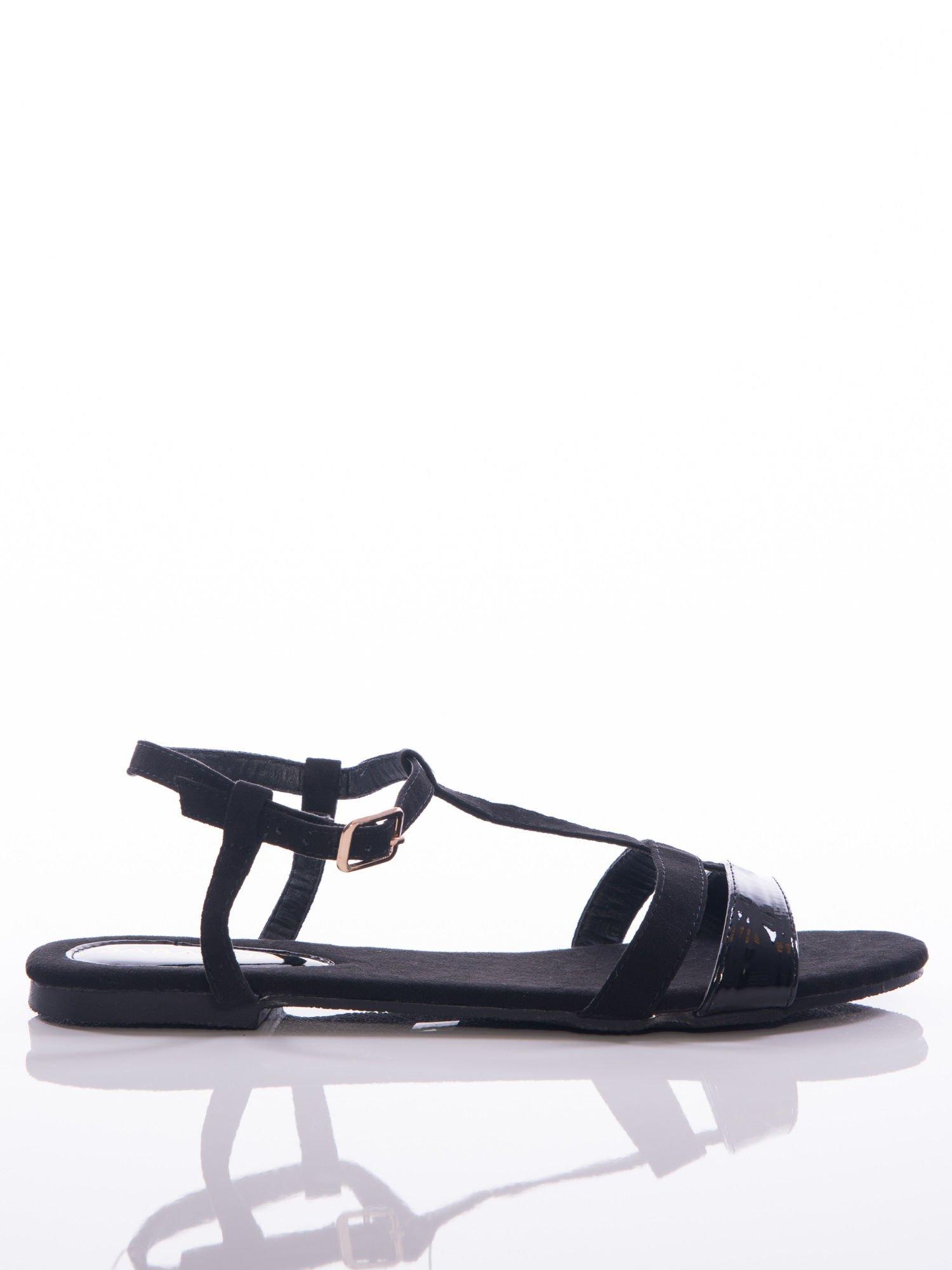 d990d59a Czarne sandały Sabatina z lakierowanym paskiem - Buty Sandały ...