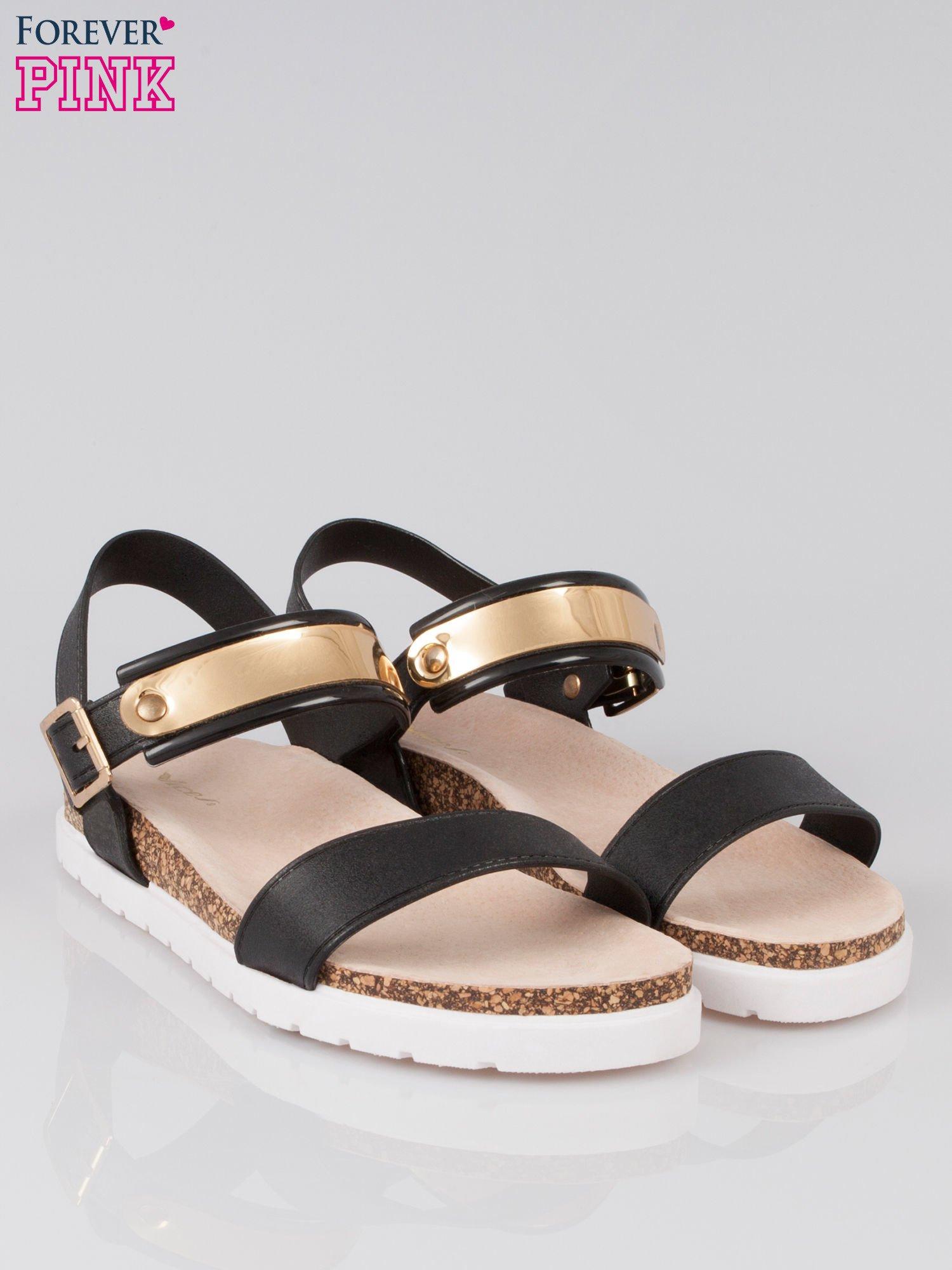 Czarne sandały damskie z blaszką                                  zdj.                                  2