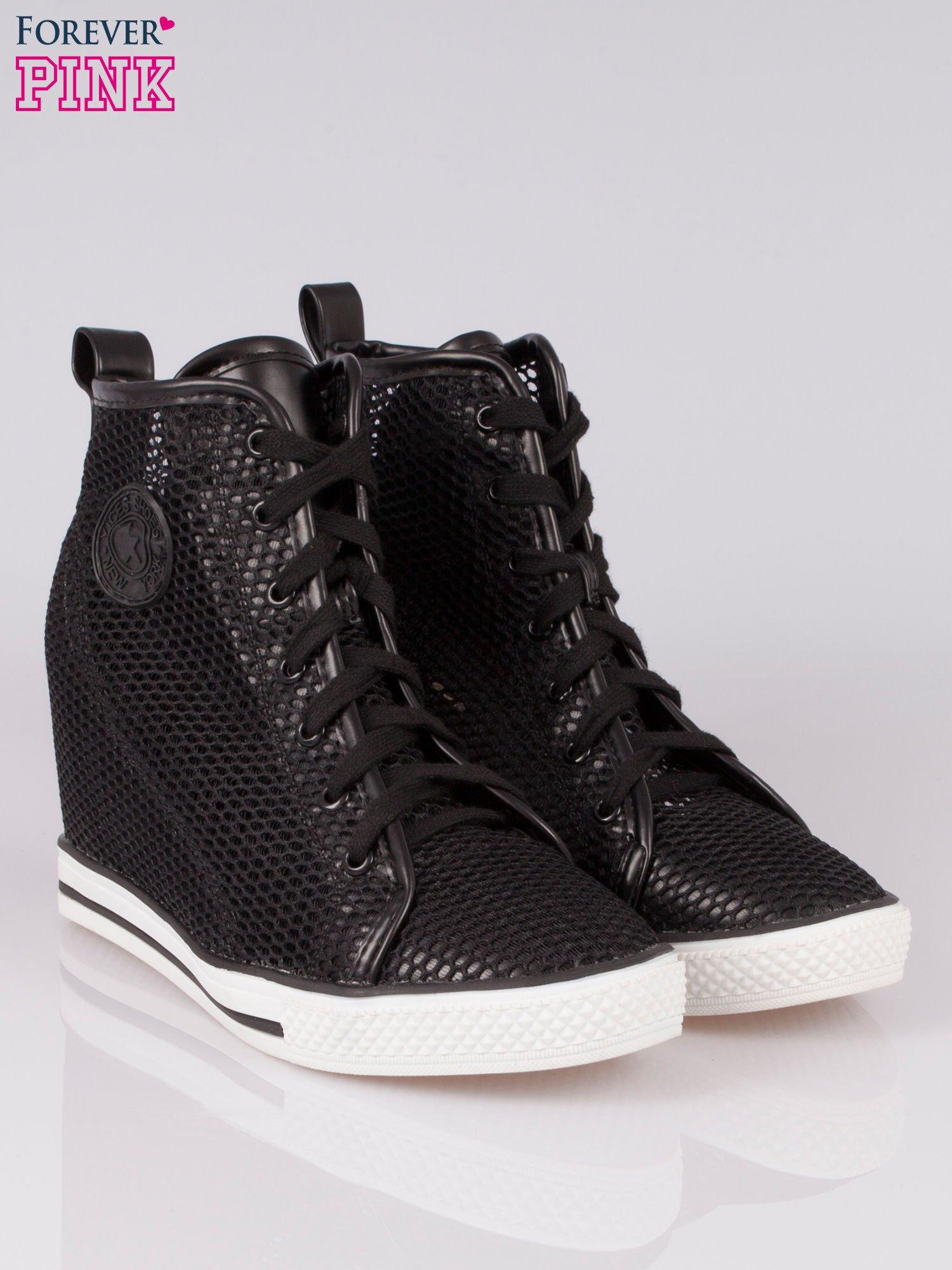 Czarne siateczkowe sneakersy damskie                                  zdj.                                  2