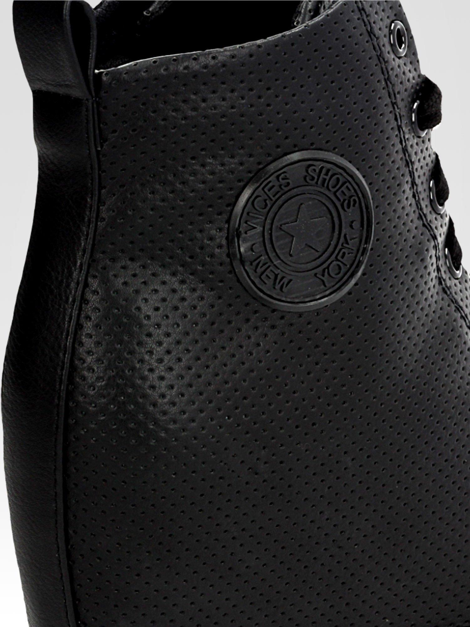 Czarne skórzane trampki na koturnie sneakersy z dziurkowanej cholewki                                  zdj.                                  6