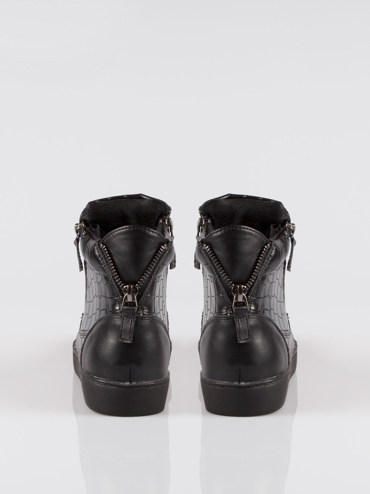Czarne sneakersy Vanessa tłoczone na wzór skóry krokodyla                                  zdj.                                  3