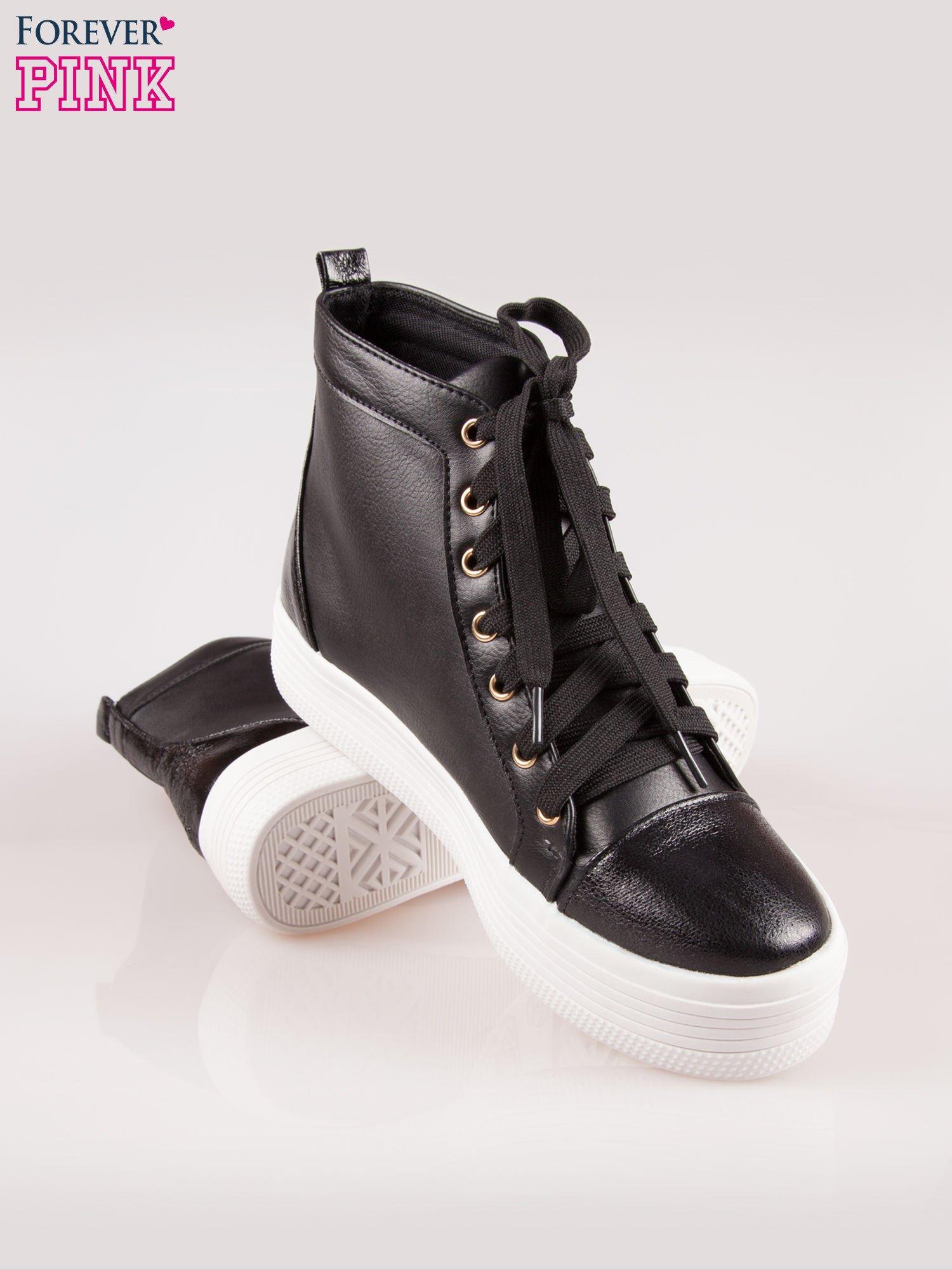 Czarne sneakersy za kostkę na grubej podeszwie                                  zdj.                                  4