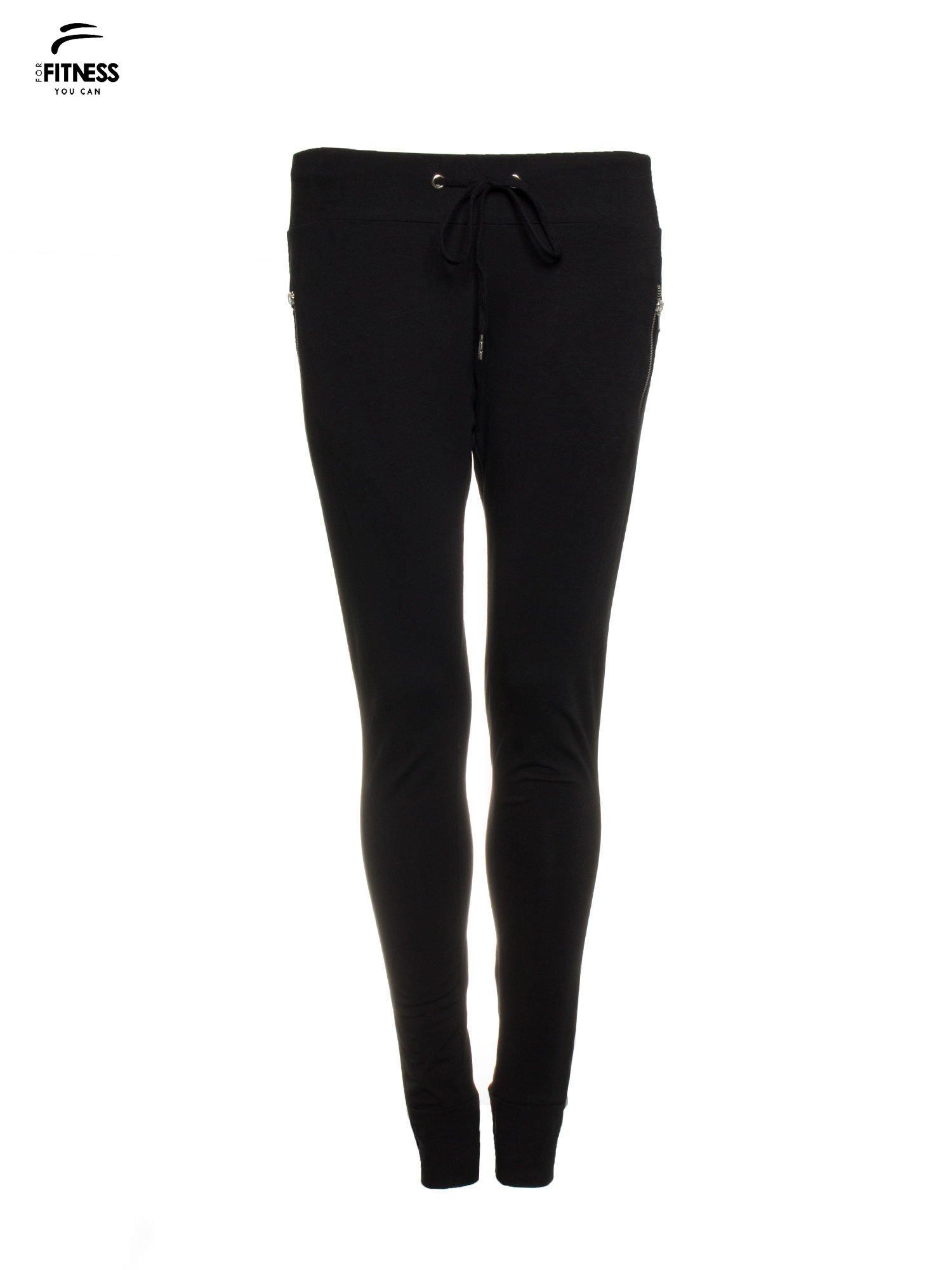 Czarne spodnie dresowe z kieszeniami na zamek                                  zdj.                                  5