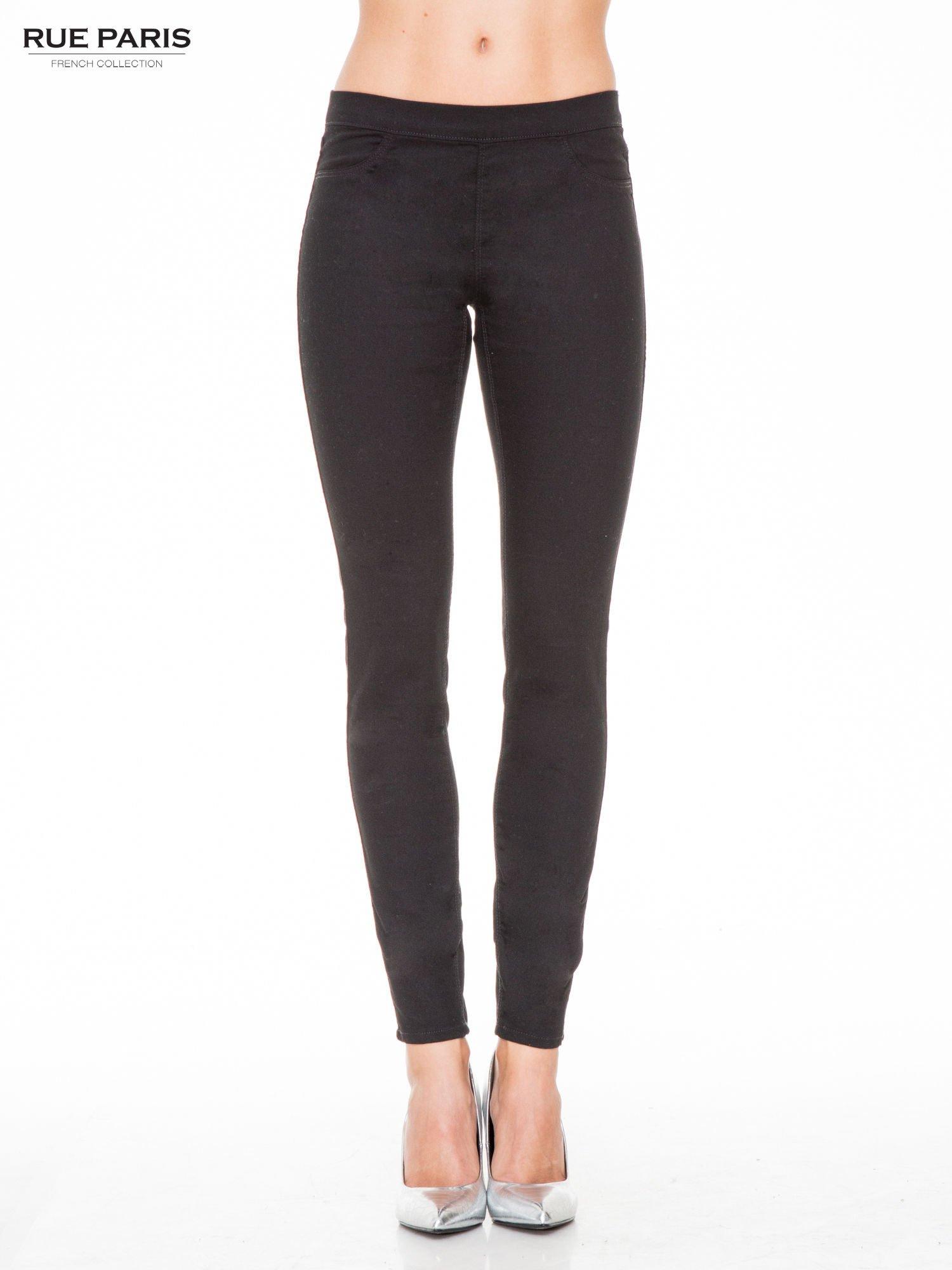 Czarne spodnie typu tregginsy z kieszeniami                                  zdj.                                  1