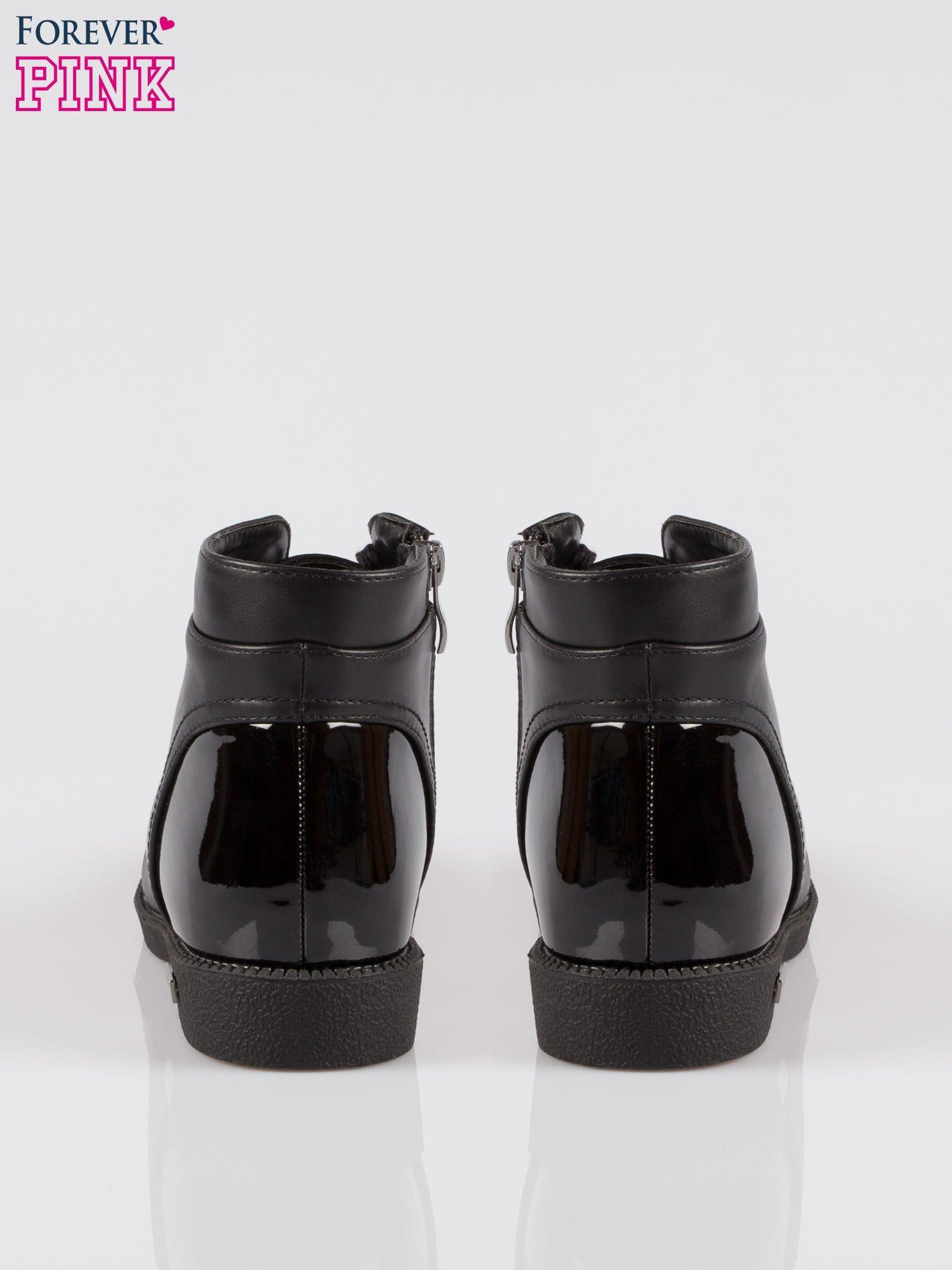 Czarne sznurowane botki damskie white cap toe                                  zdj.                                  3
