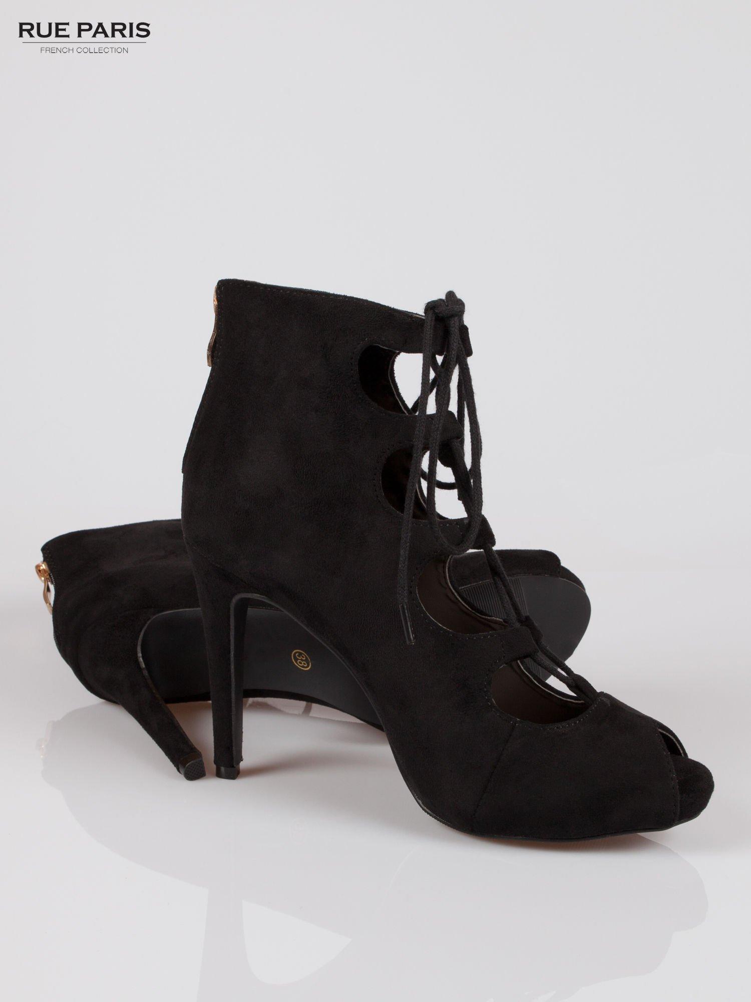 Czarne sznurowane botki lace up open toe z zamkiem                                  zdj.                                  4