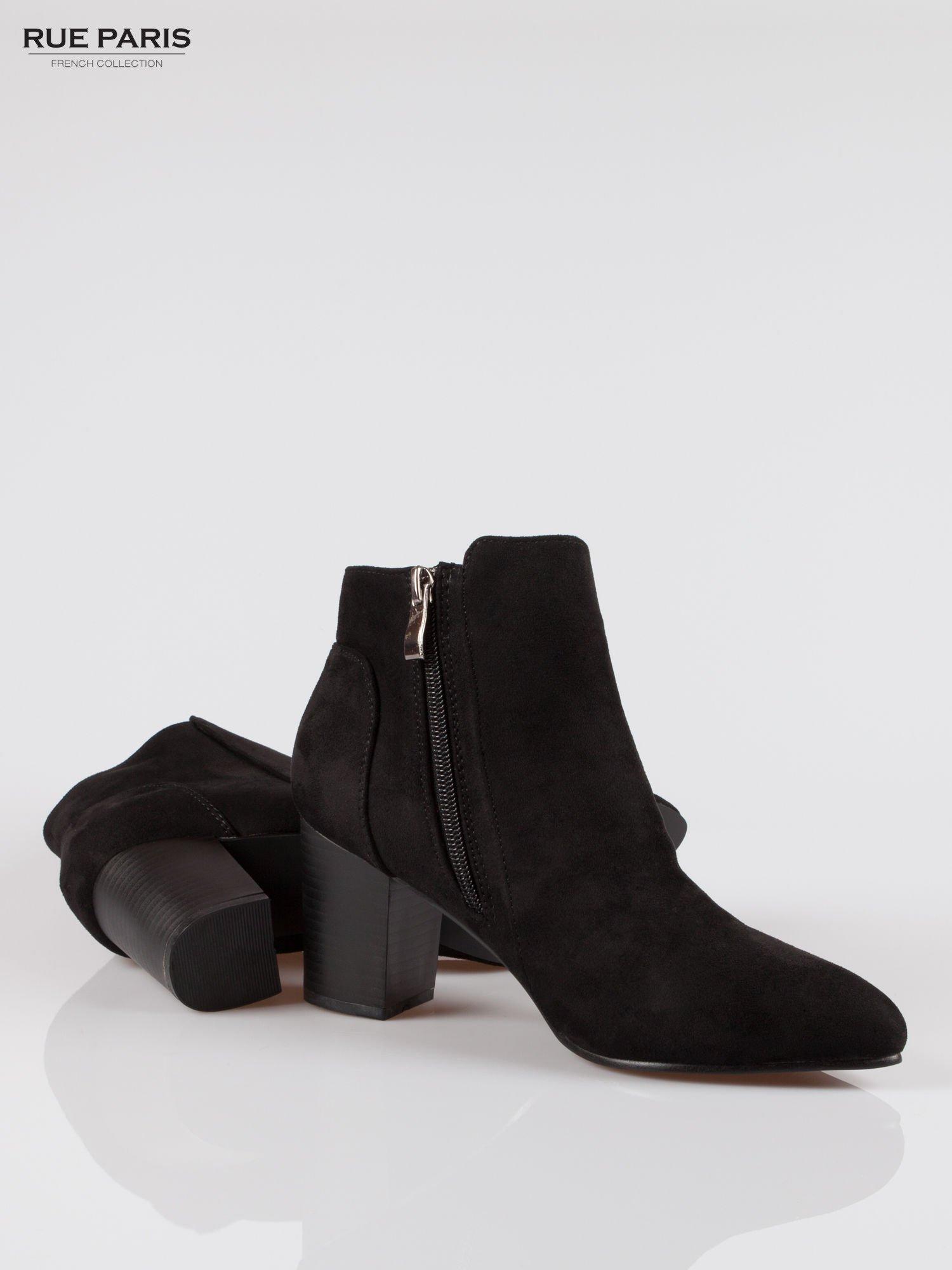 Czarne zamszowe botki ankle heels na słupku                                  zdj.                                  4