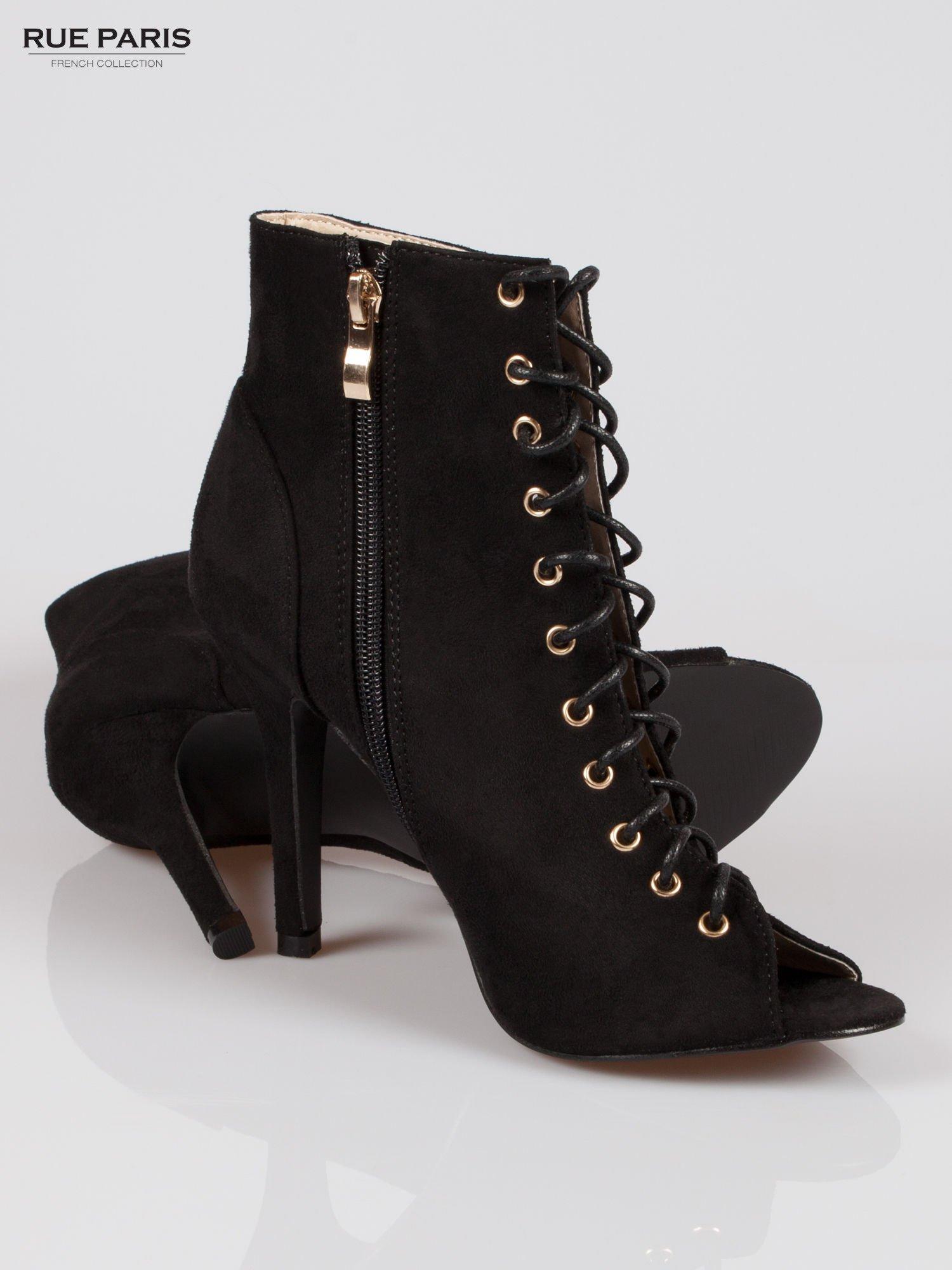Czarne zamszowe sznurowane botki lace up                                  zdj.                                  4