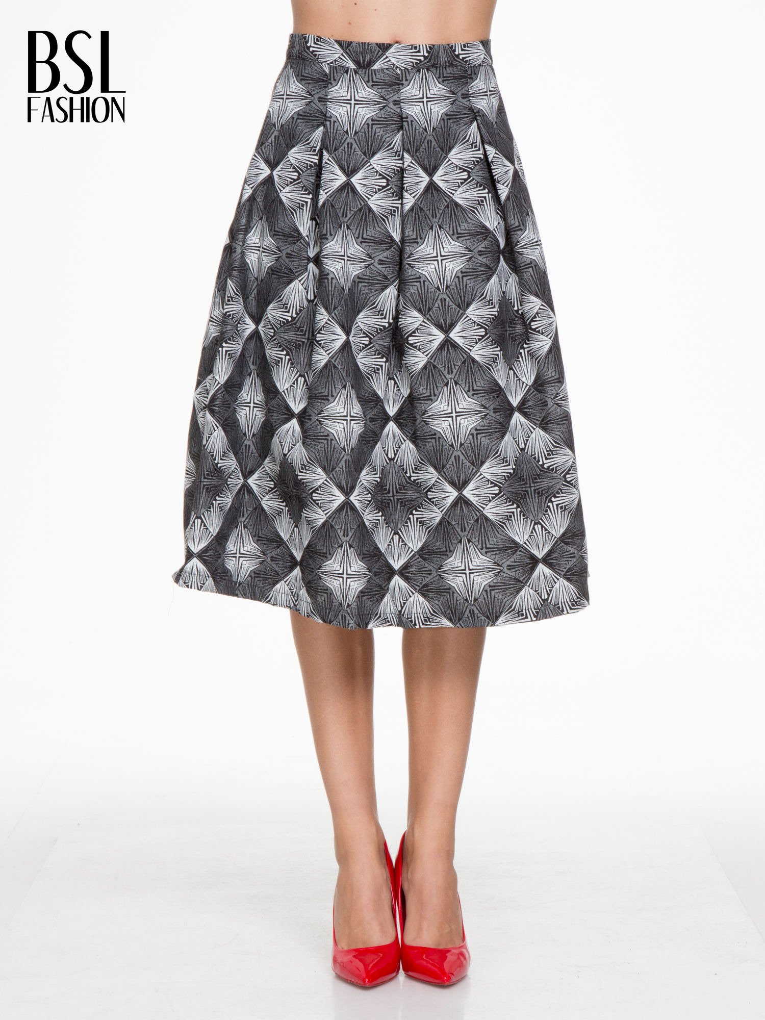 Czarno-biała rozkloszowa spódnica midi w ornamentowy wzór II                                  zdj.                                  1