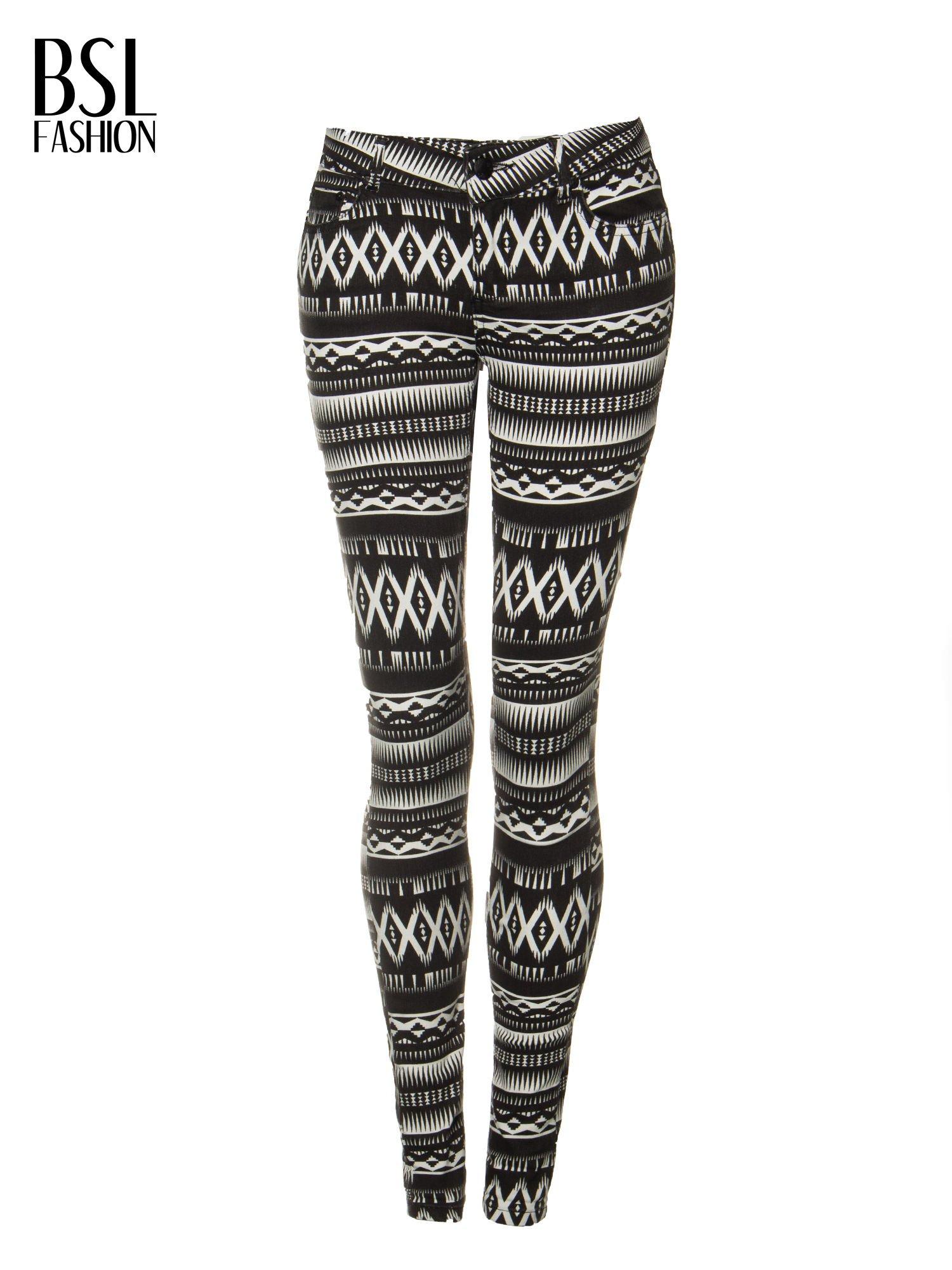 Czarno-białe spodnie rurki w azteckie wzory                                  zdj.                                  5