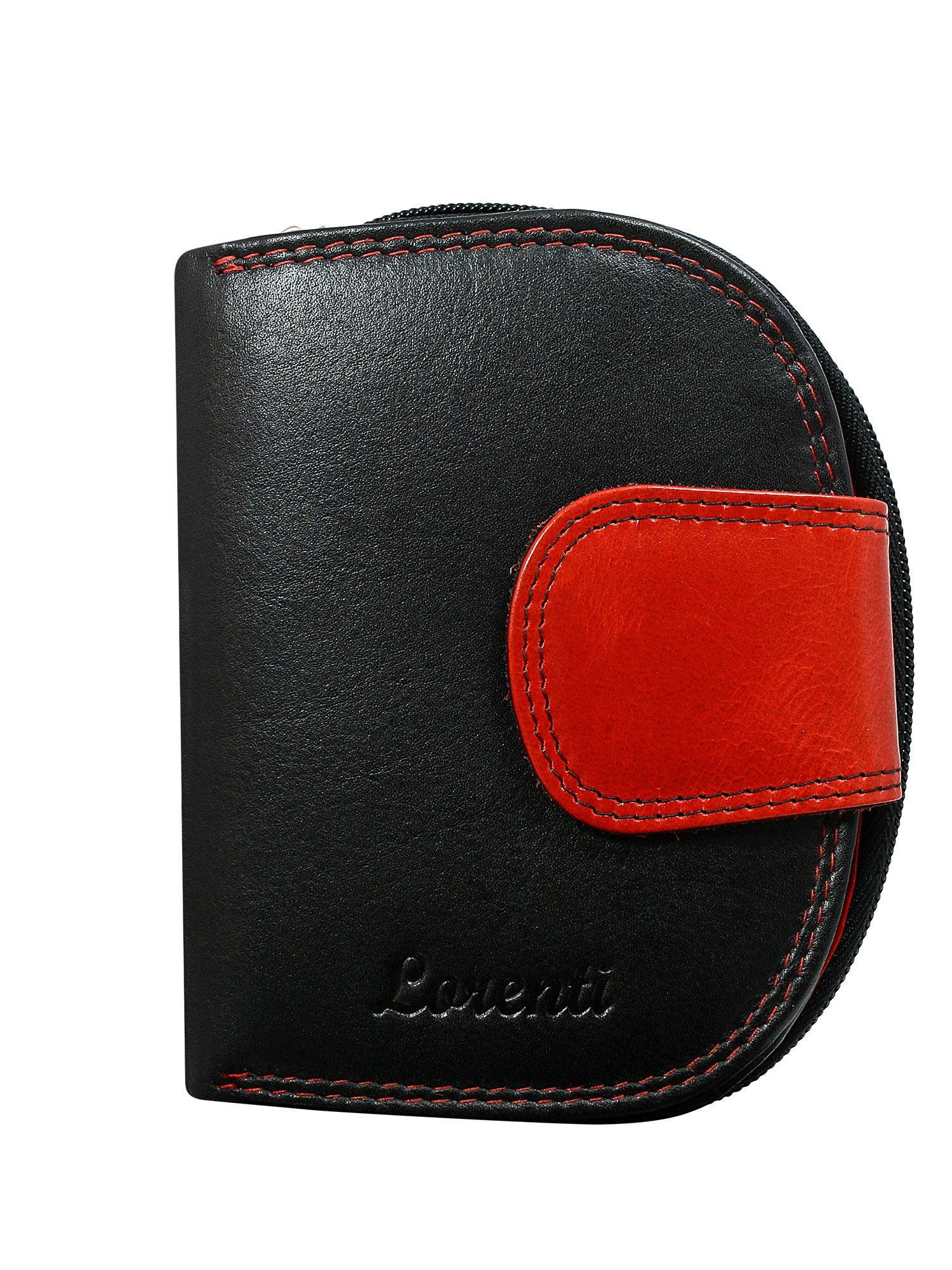 809c79f914ce6 Czarno-czerwony półokrągły portfel damski skórzany - Akcesoria ...