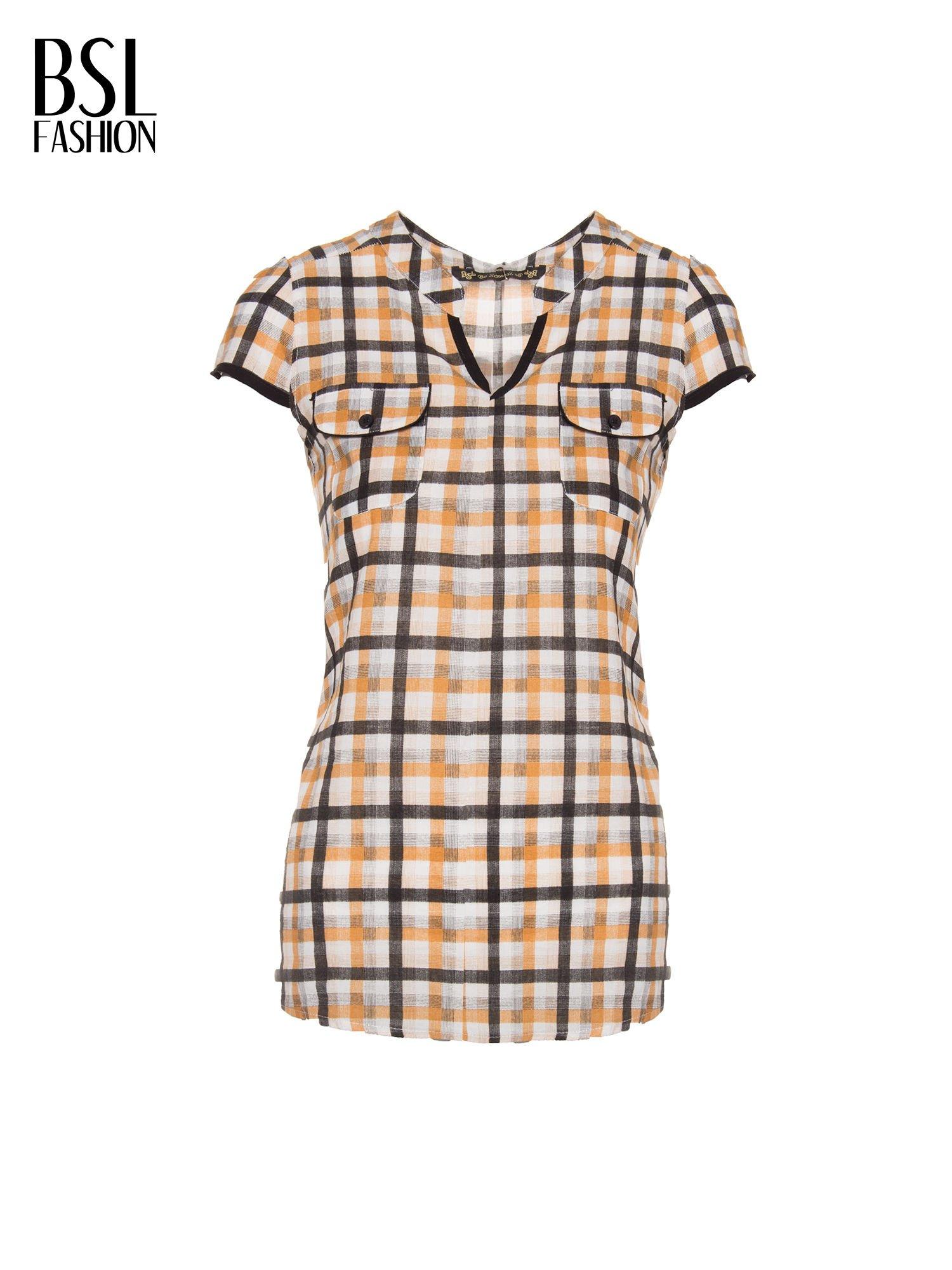 Czarno-pomarańczowa koszula w kratę z krótkim rękawem                                  zdj.                                  5