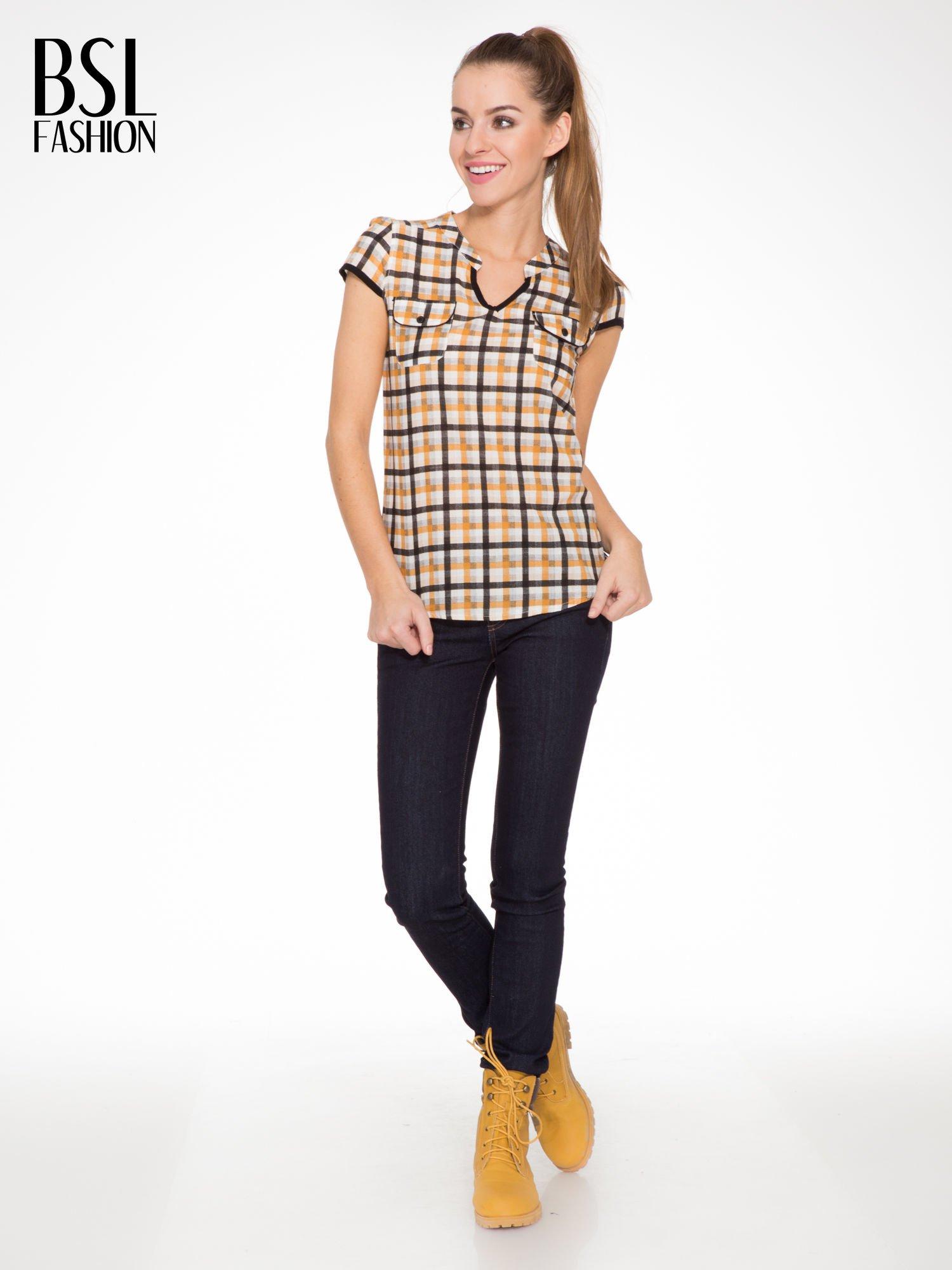 Czarno-pomarańczowa koszula w kratę z krótkim rękawem                                  zdj.                                  2