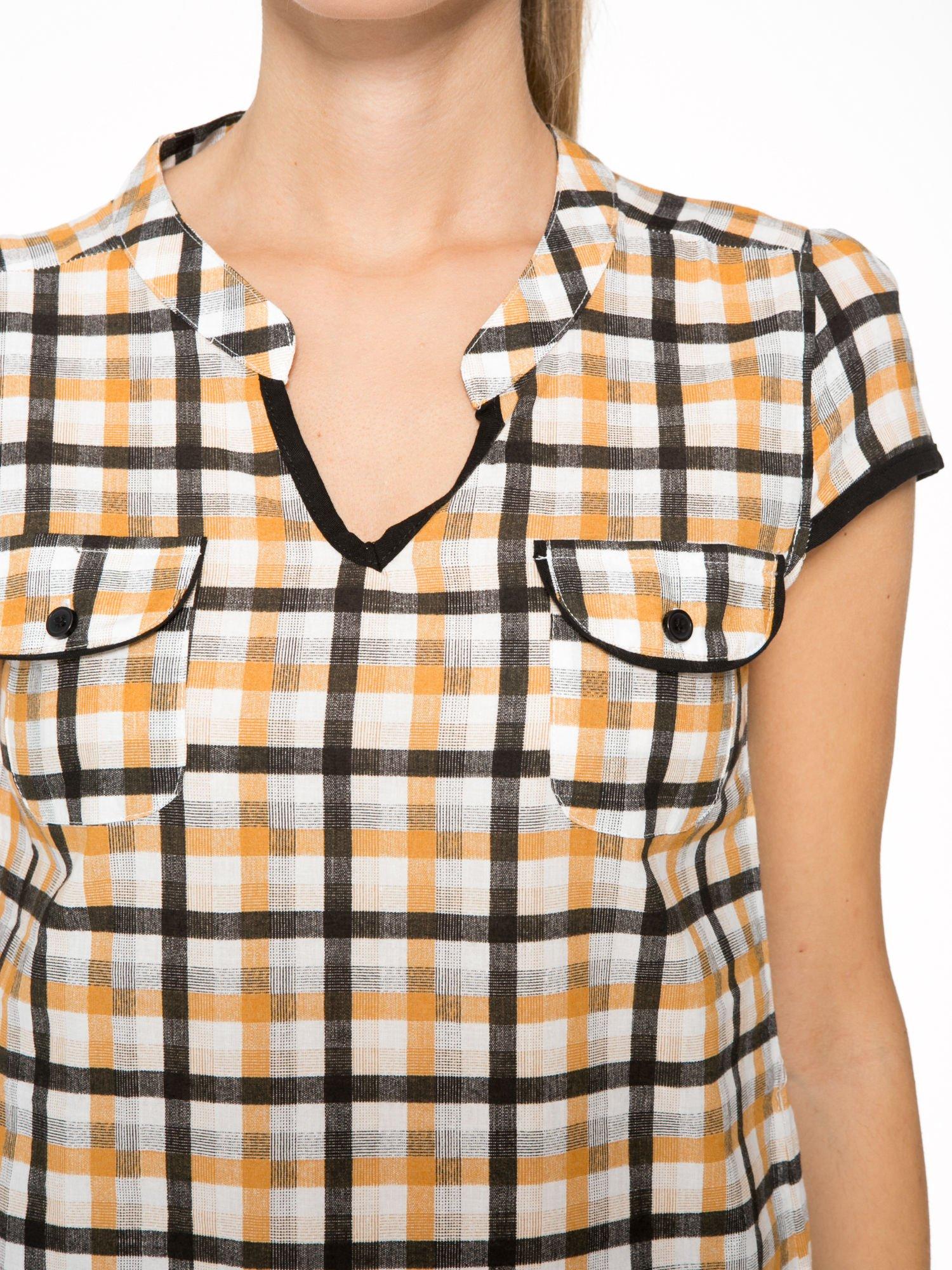 Czarno-pomarańczowa koszula w kratę z krótkim rękawem                                  zdj.                                  6