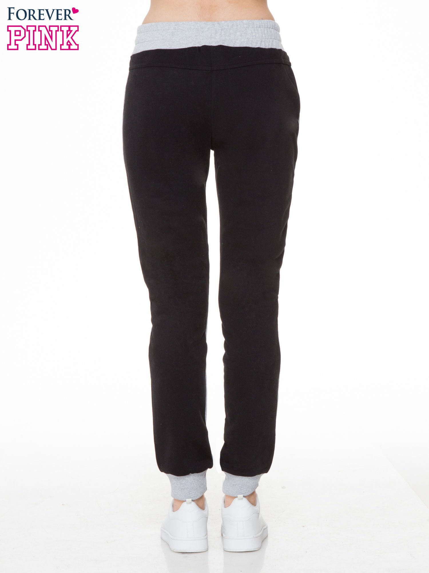 Czarno-szare spodnie dresowe two tone z kieszeniami                                  zdj.                                  4