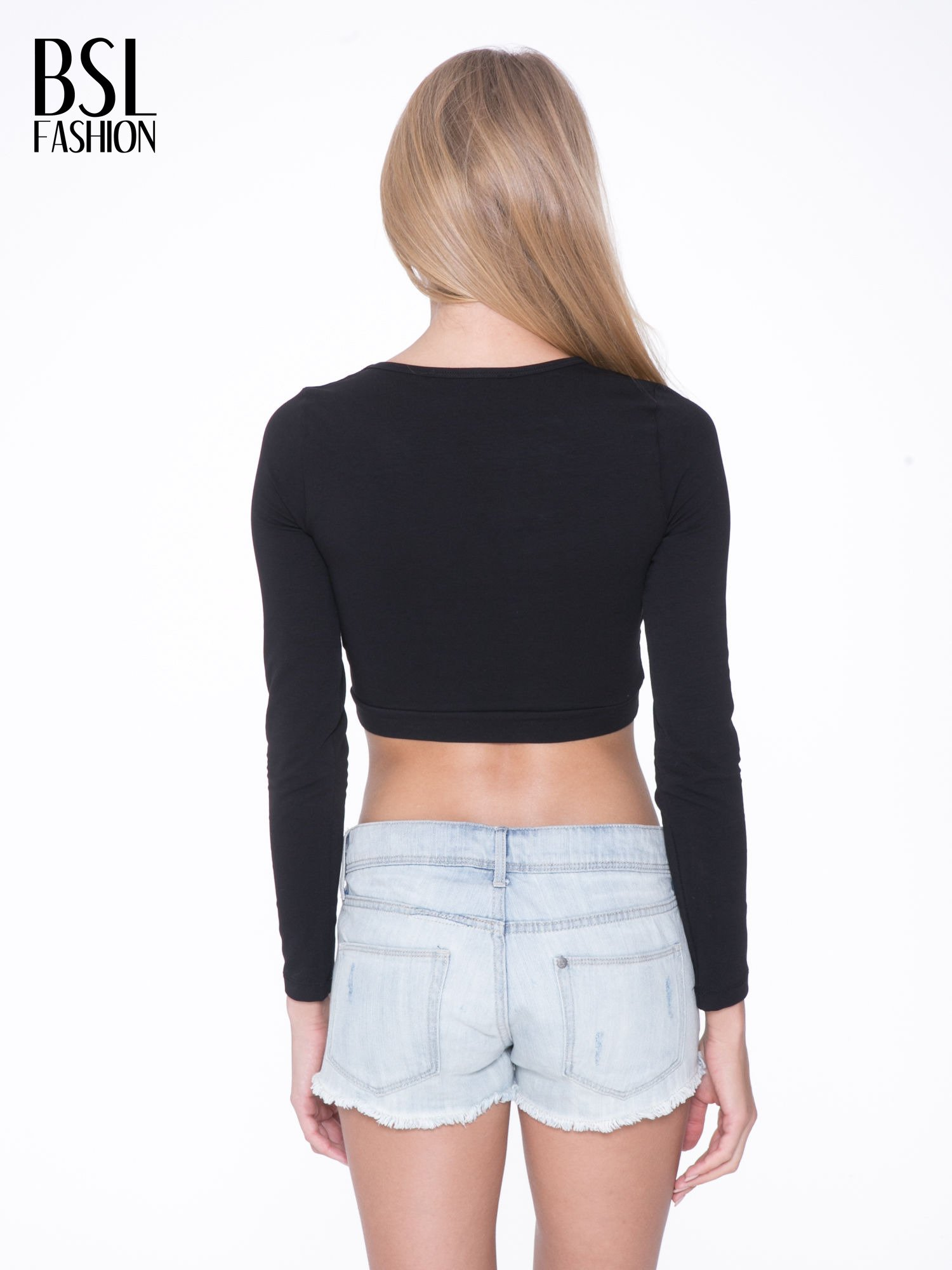 Czarny crop top typu cut out                                  zdj.                                  4