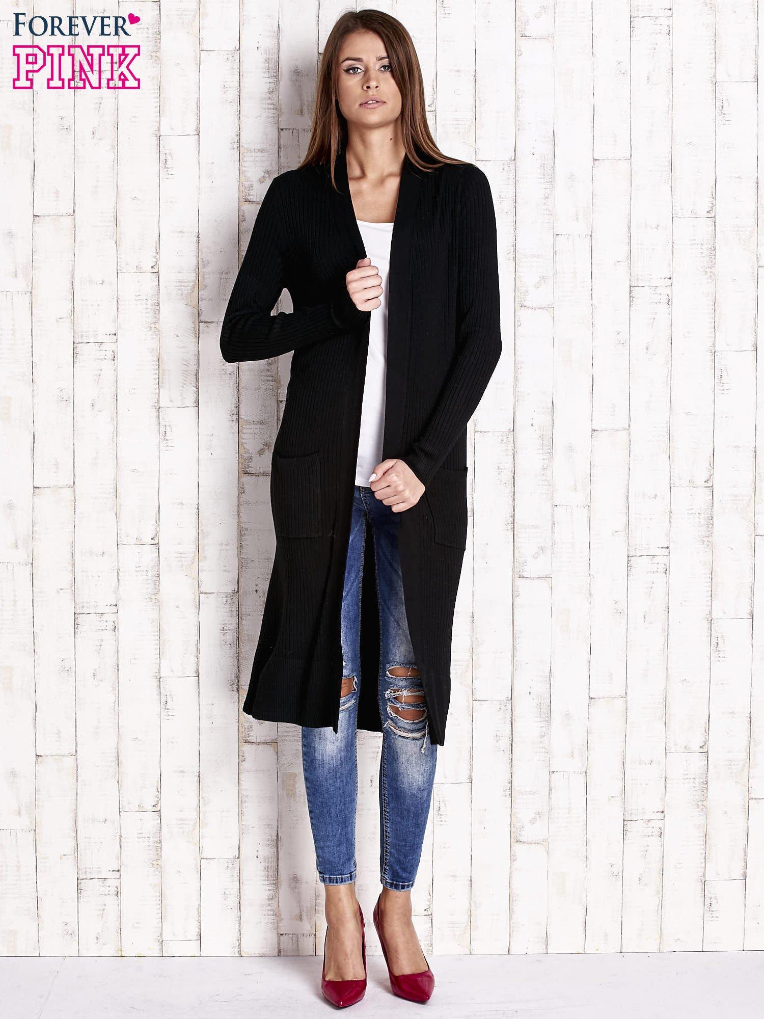 Czarny długi prążkowany sweter                                  zdj.                                  4