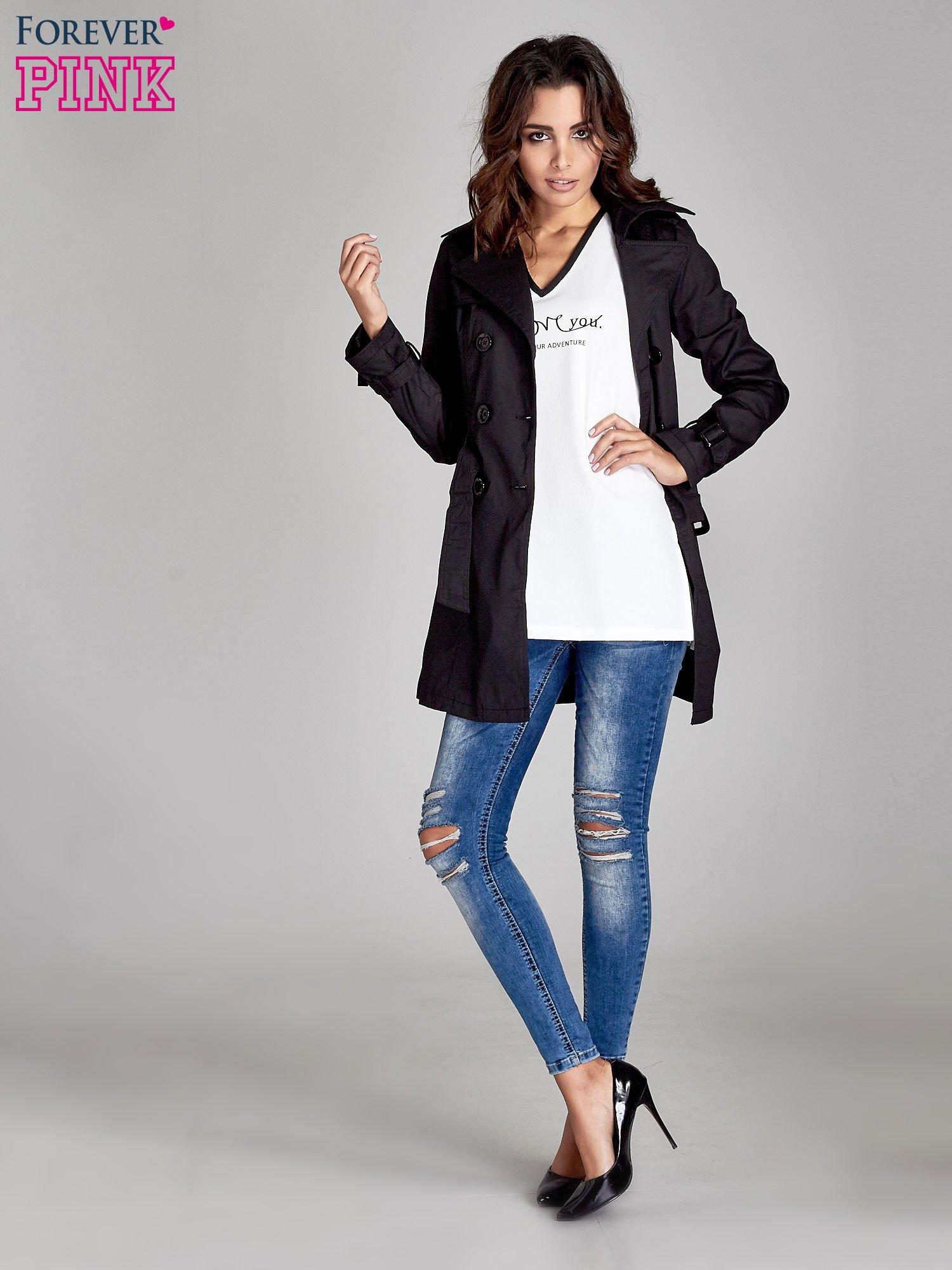 Czarny klasyczny płaszcz typu trencz                                  zdj.                                  2