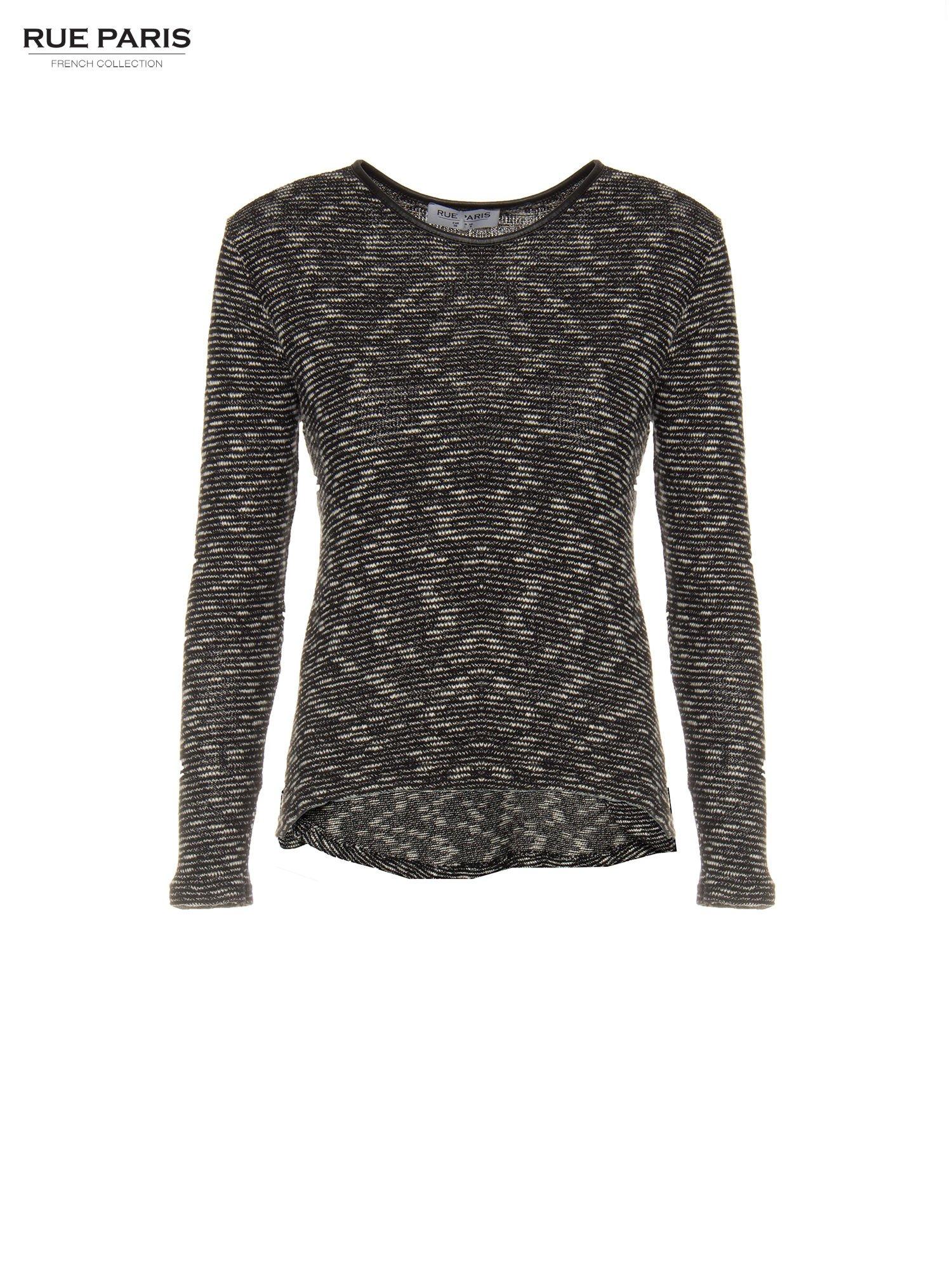 Czarny melanżowy sweter ze skórzaną lamówką przy dekolcie                                  zdj.                                  5